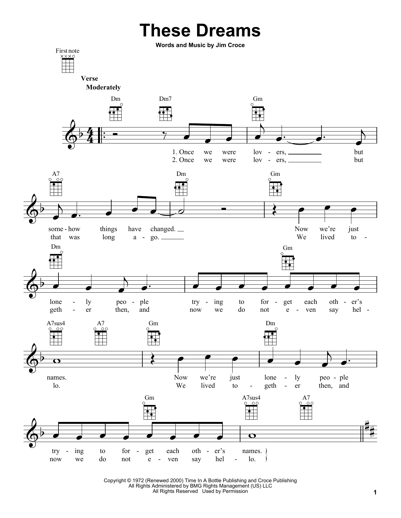 Jim Croce These Dreams Sheet Music Notes Chords Printable Pop