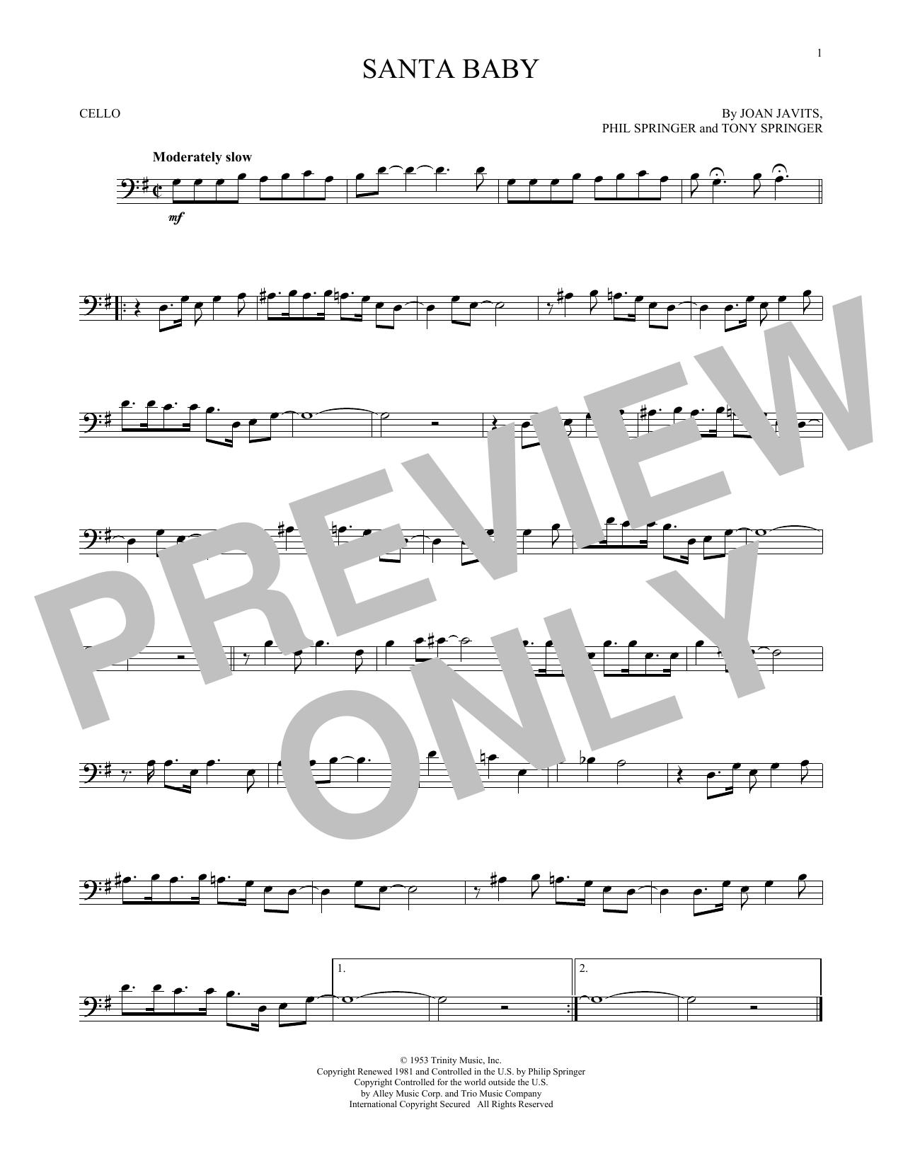 Joan Javits Santa Baby Sheet Music Notes Chords Printable Folk