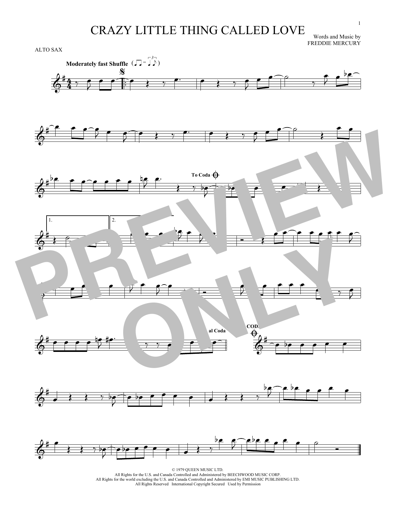 Queen Crazy Little Thing Called Love Sheet Music Notes Chords