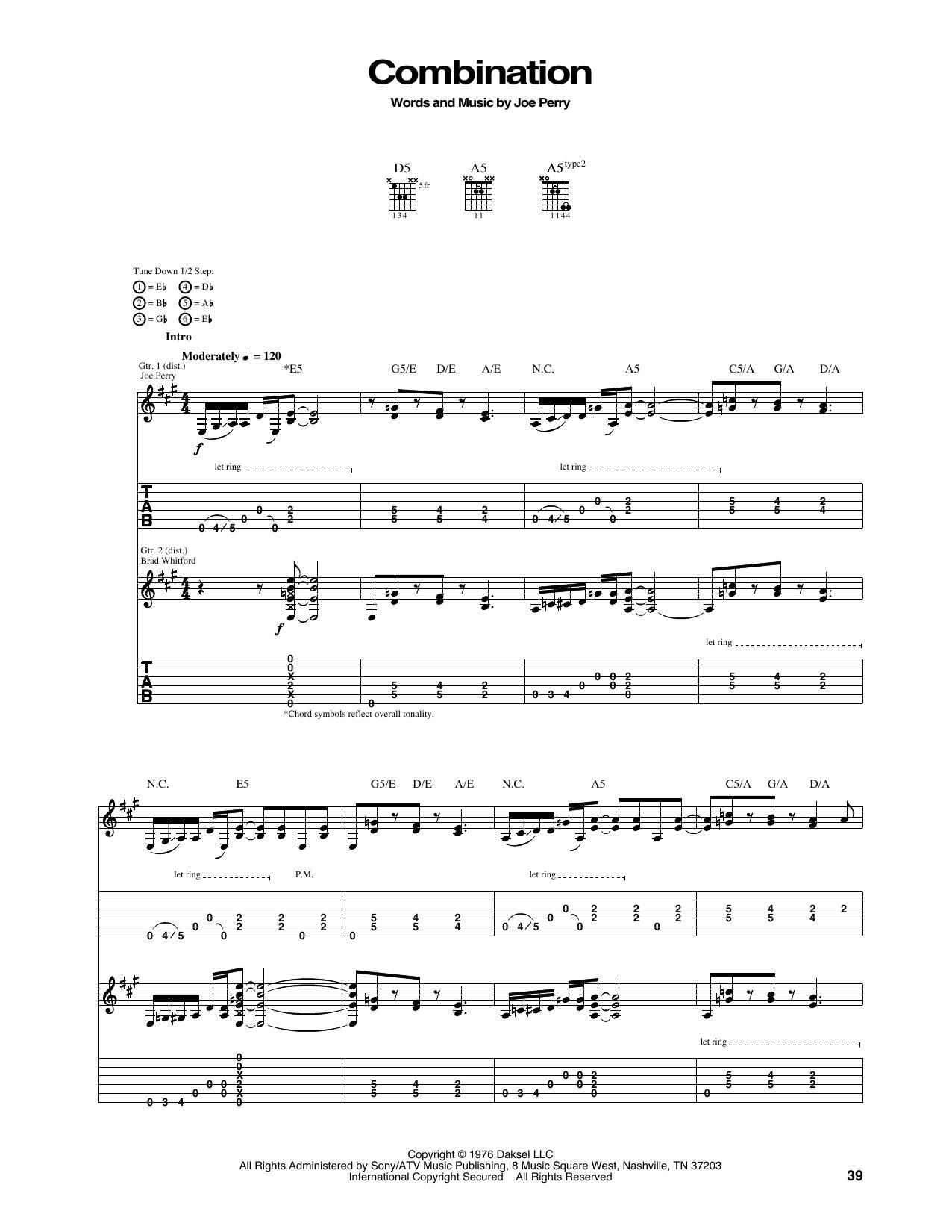 Aerosmith Combination Sheet Music Notes Chords Printable Rock