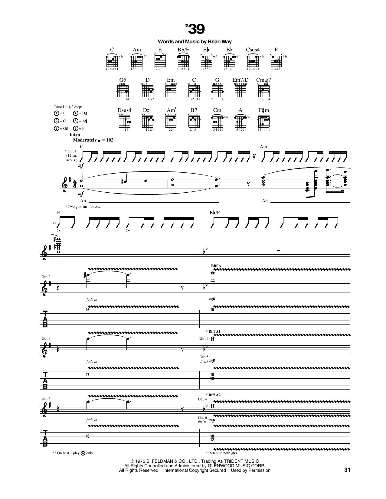 Queen 39 Sheet Music Notes Chords Printable Rock Guitar Tab
