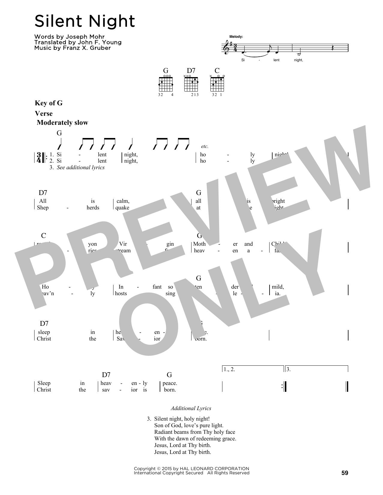 Franz Gruber Silent Night Sheet Music Notes Chords Printable