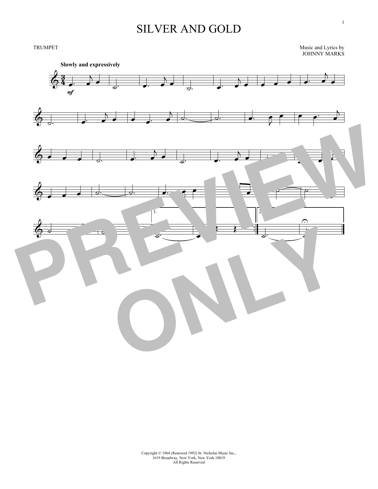 Johnny Marks Silver And Gold Sheet Music Notes Chords Printable