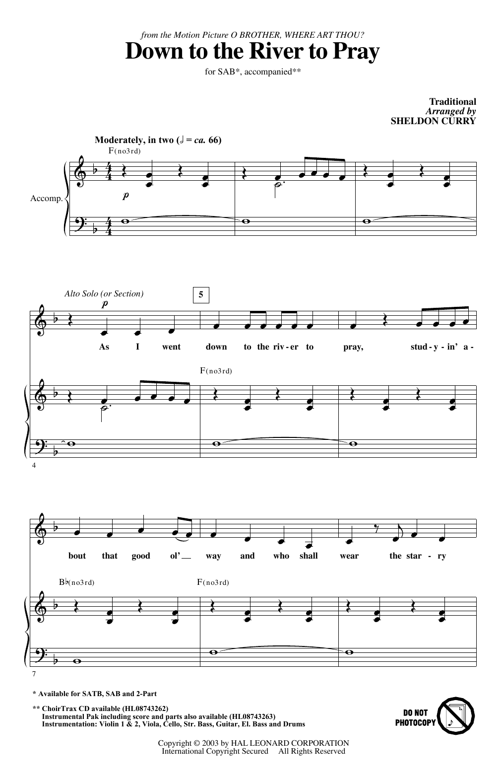 Sheldon Curry Down To The River To Pray Sheet Music Notes Chords