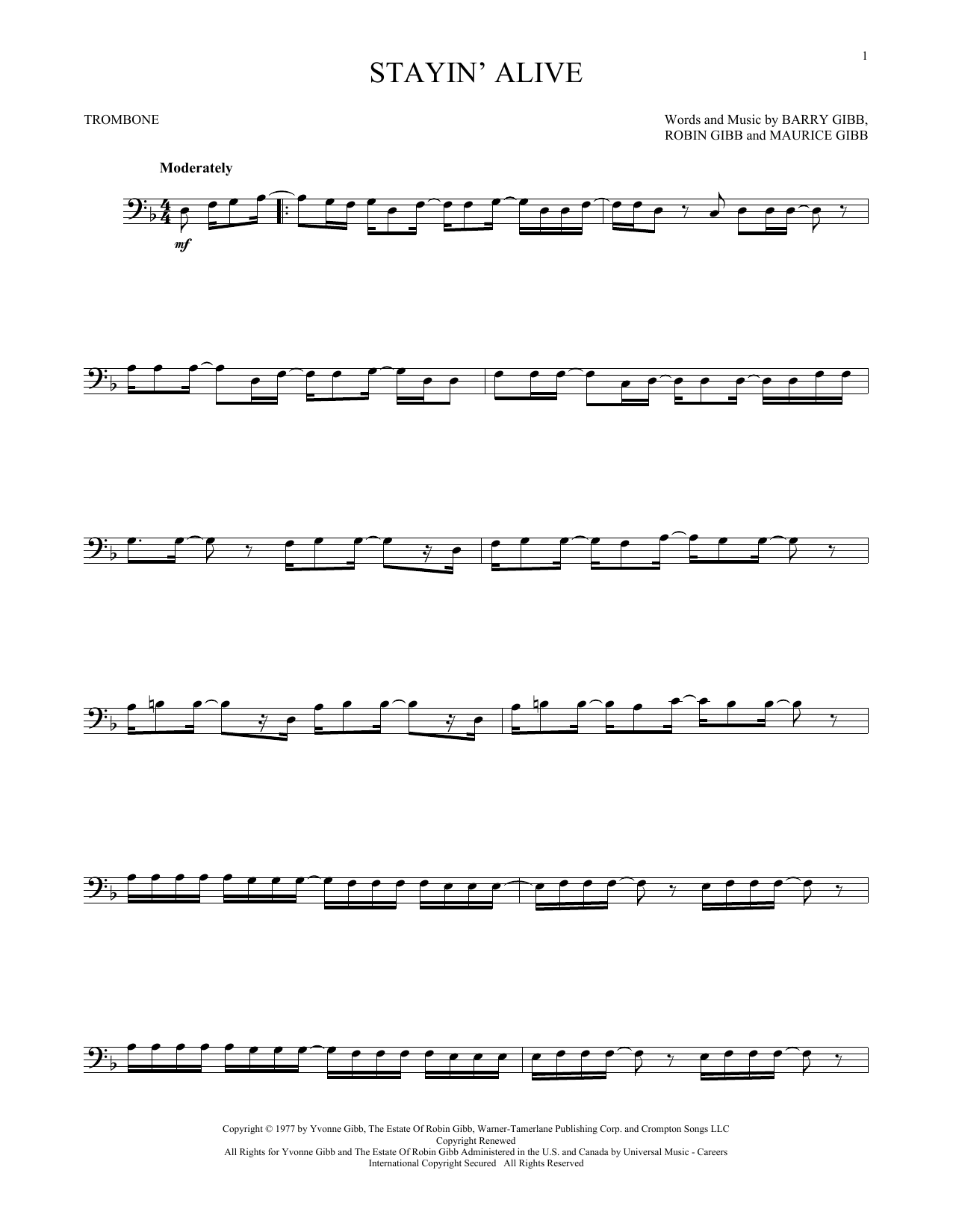 The Bee Gees Stayin Alive Sheet Music Notes Chords Printable