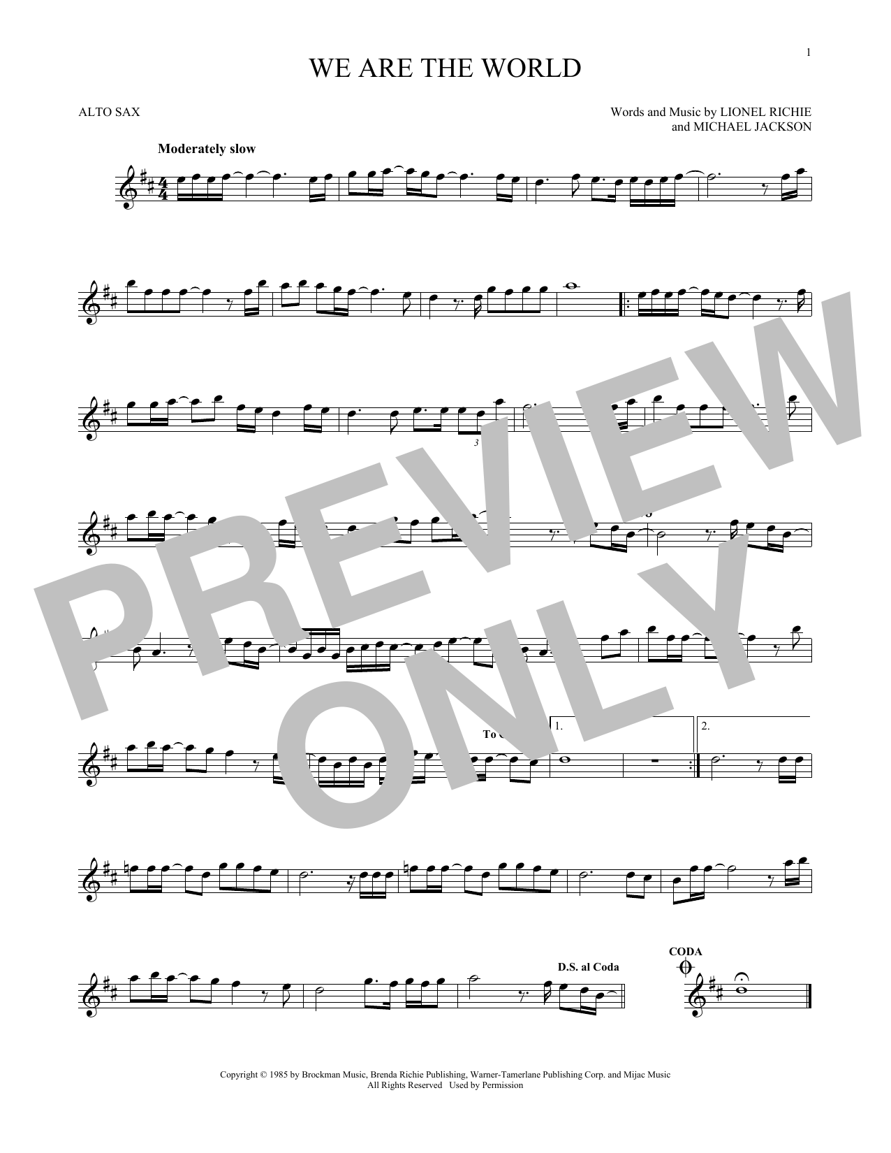Usa For Africa We Are The World Sheet Music Notes Chords