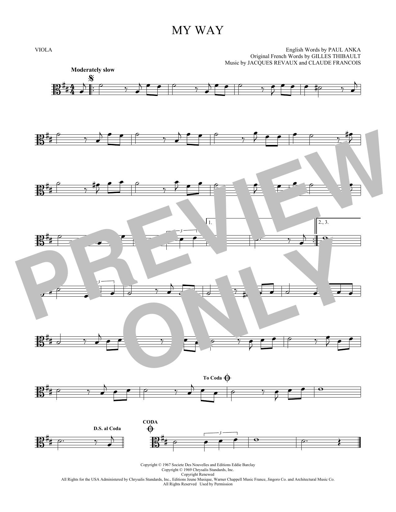 Frank Sinatra My Way Sheet Music Notes Chords Printable Jazz