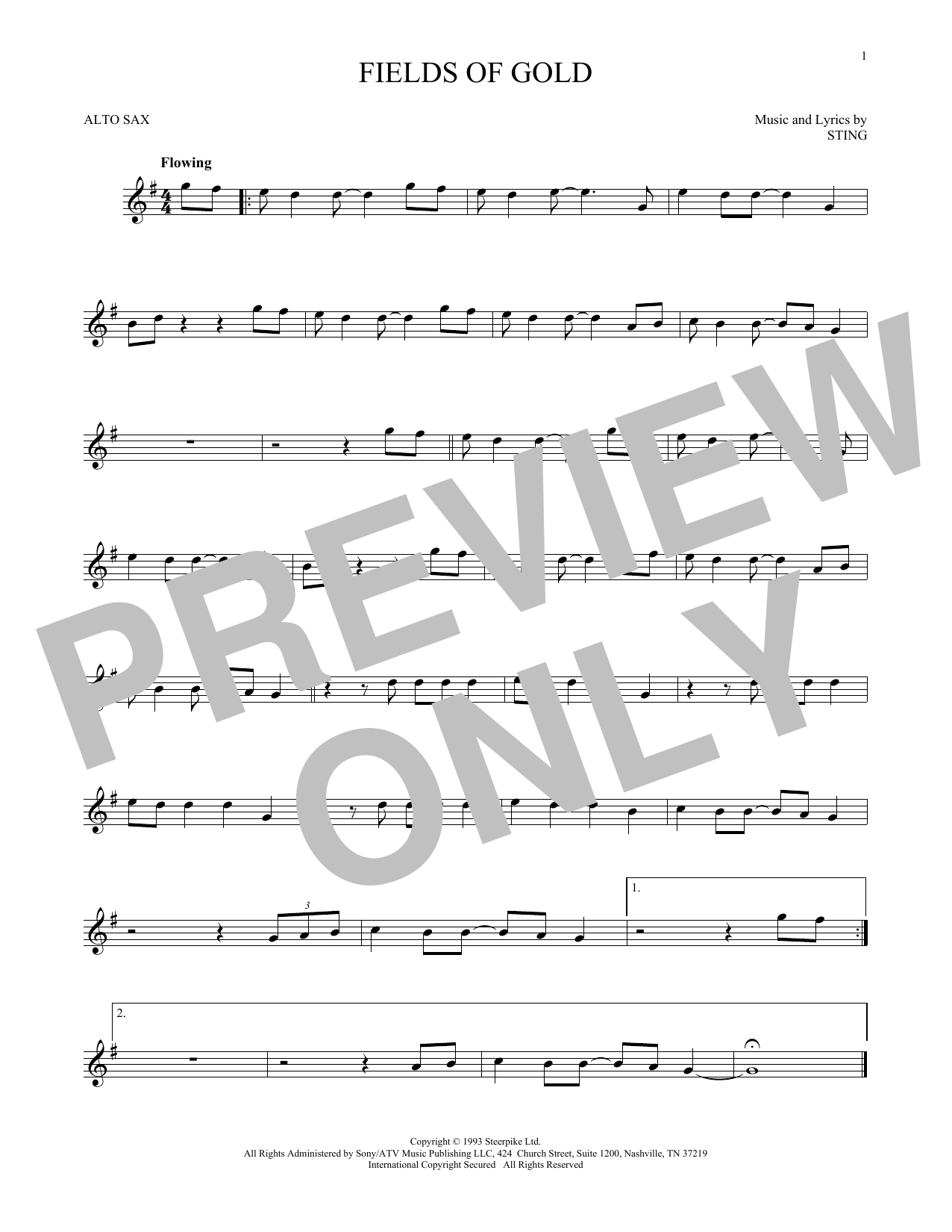 Sting Fields Of Gold Sheet Music Notes Chords Printable Pop