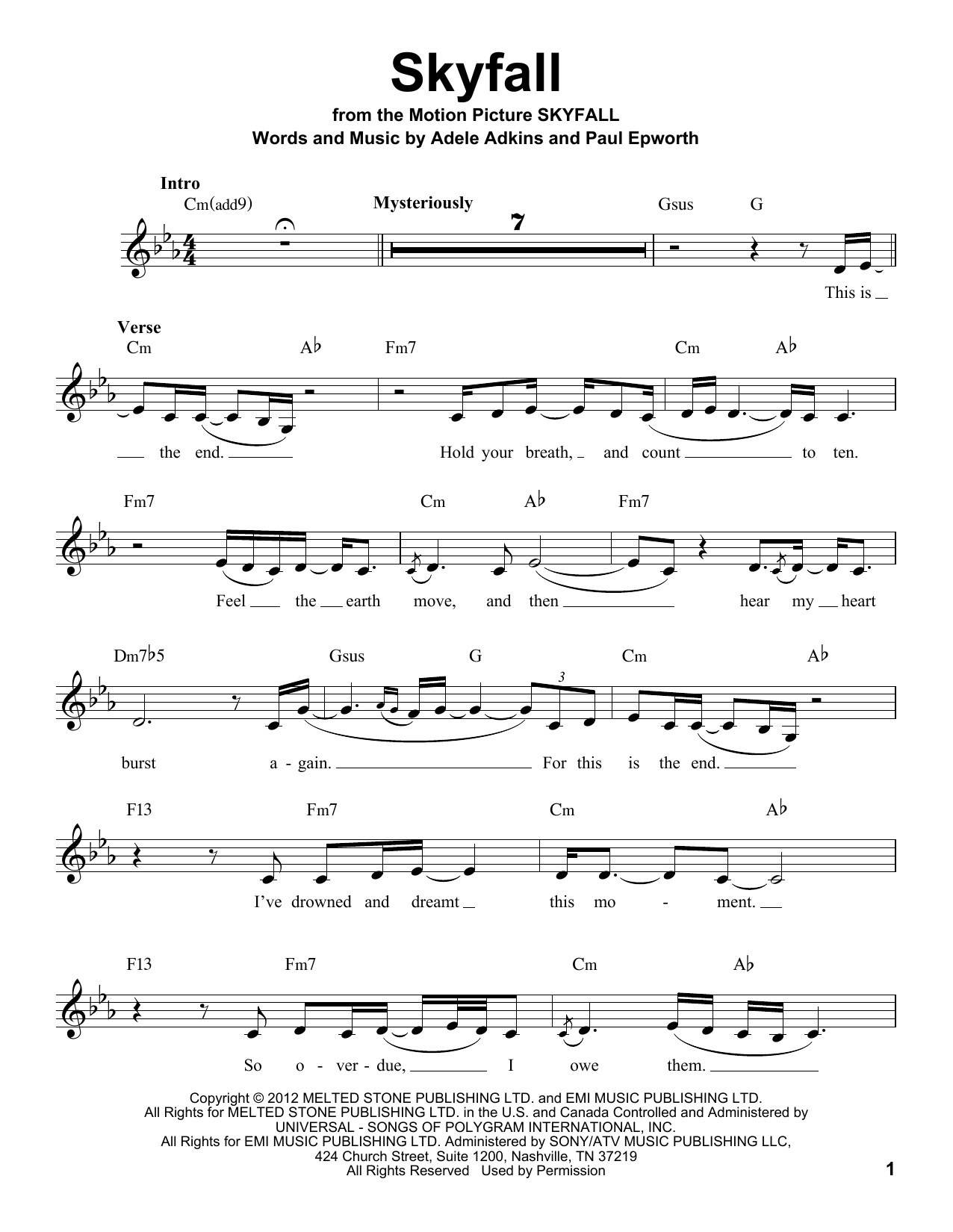 Adele Skyfall Sheet Music Notes Chords Printable Pop Voice