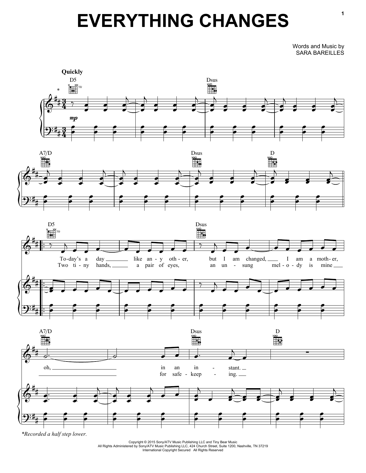 Sara Bareilles Everything Changes Sheet Music Notes Chords