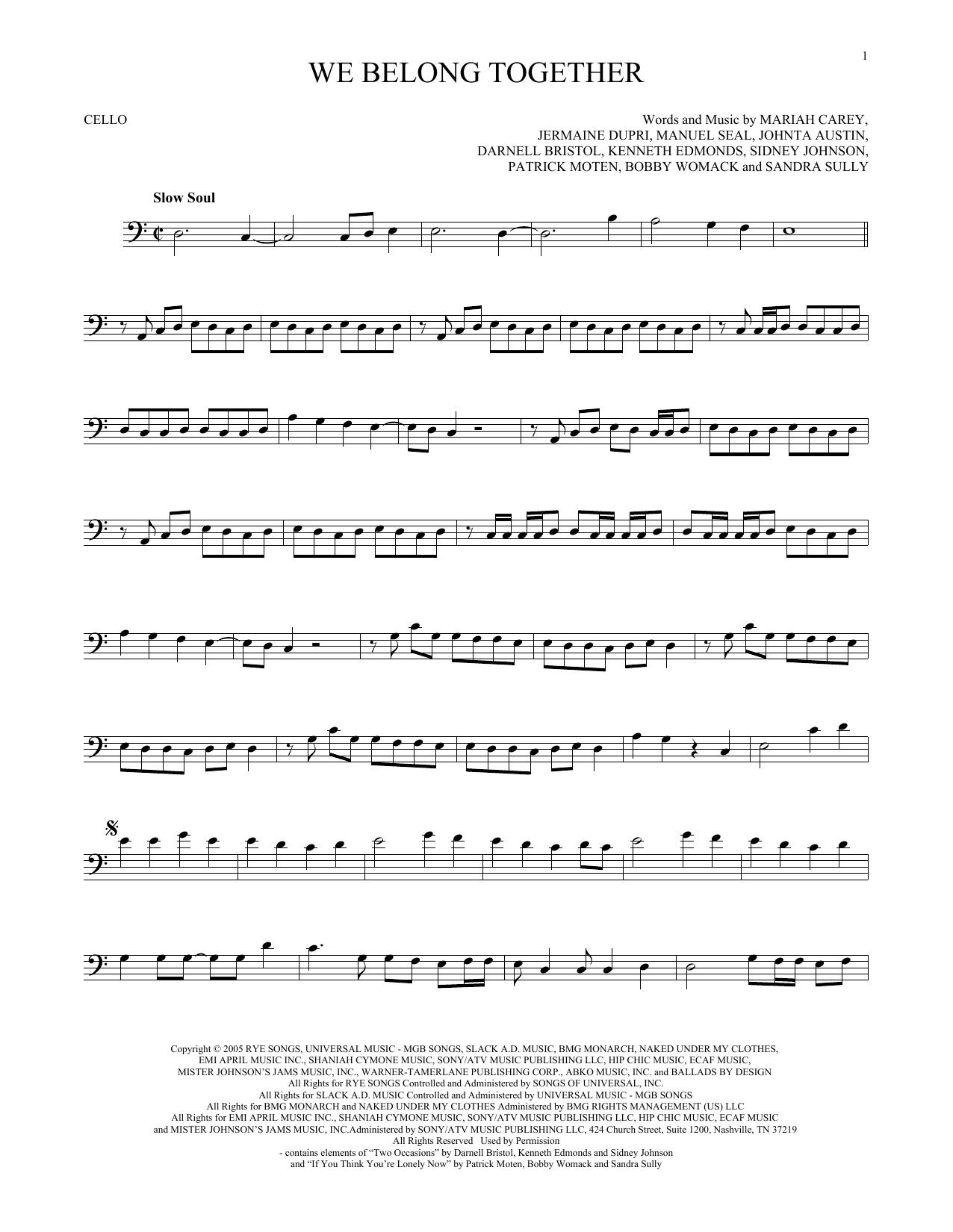 Mariah Carey We Belong Together Sheet Music Notes Chords