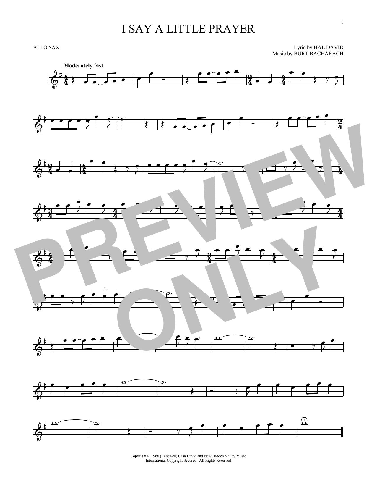 Bacharach David I Say A Little Prayer Sheet Music Notes Chords