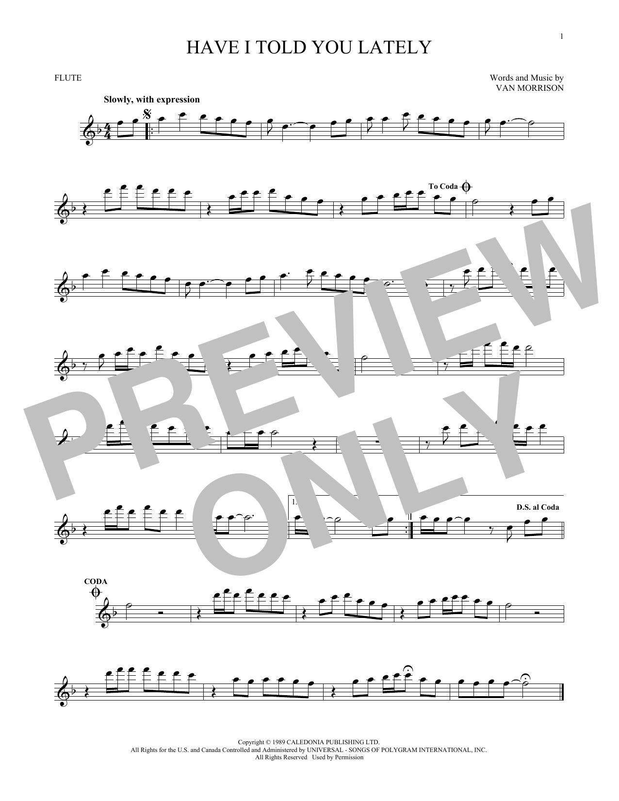 Van Morrison Have I Told You Lately Sheet Music Notes Chords