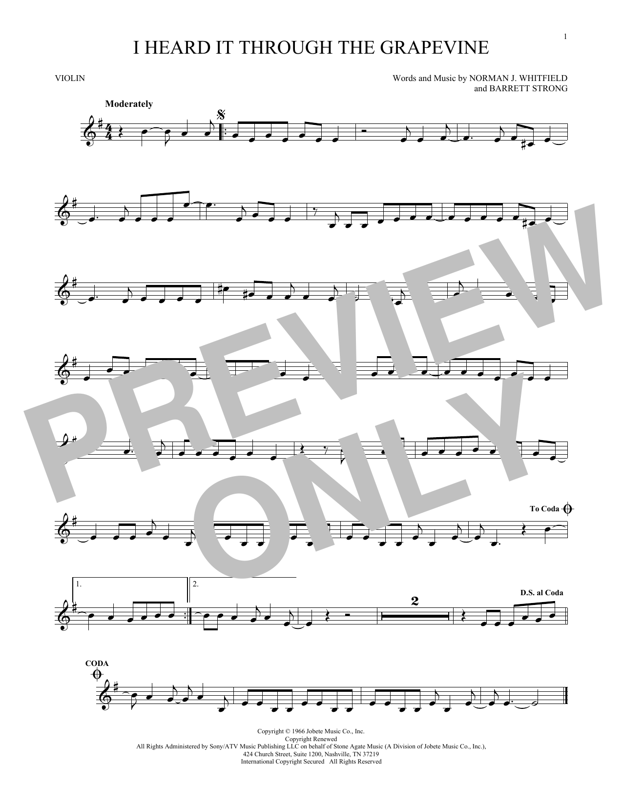Marvin Gaye I Heard It Through The Grapevine Sheet Music Notes