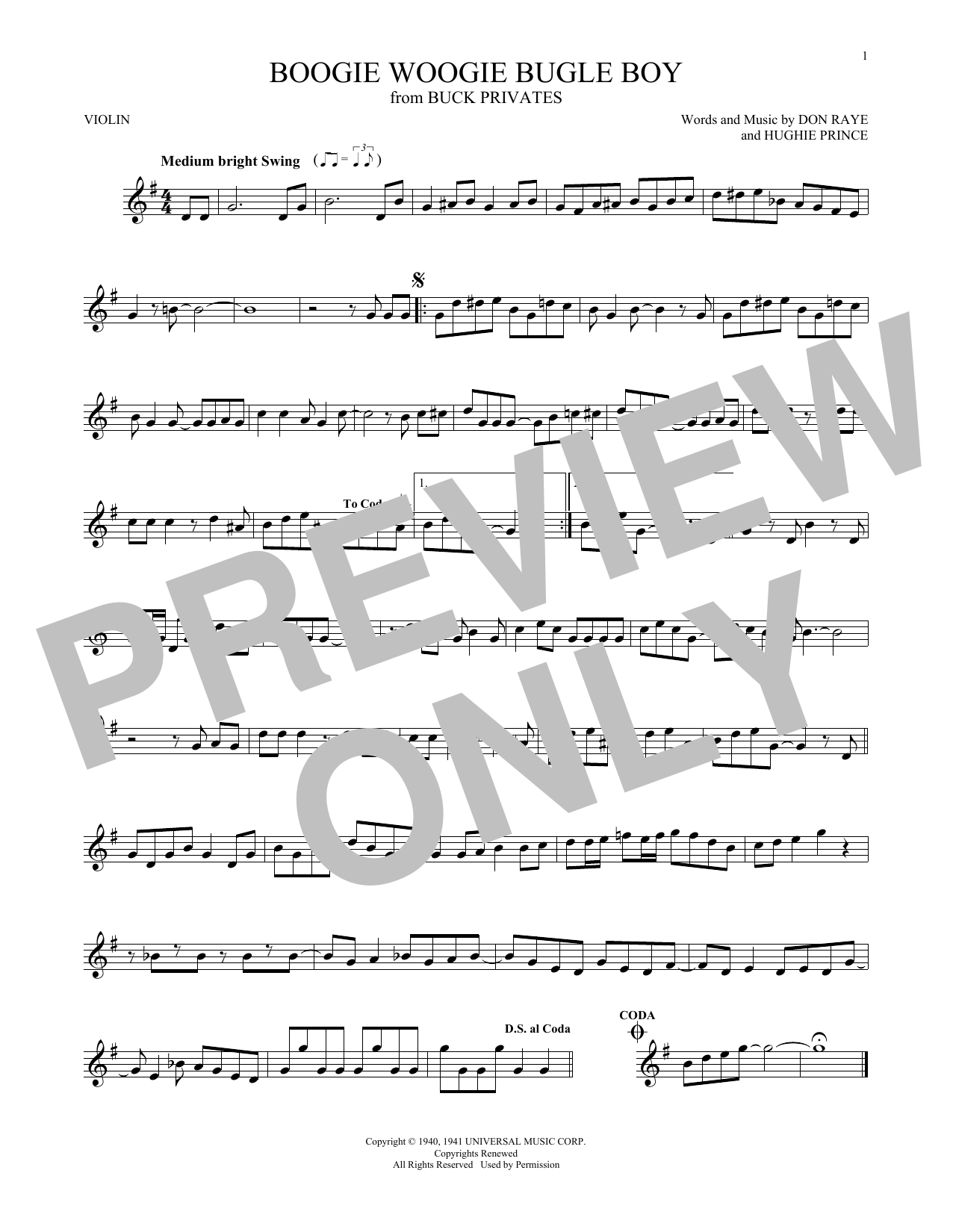 The Andrews Sisters Boogie Woogie Bugle Boy Sheet Music Notes