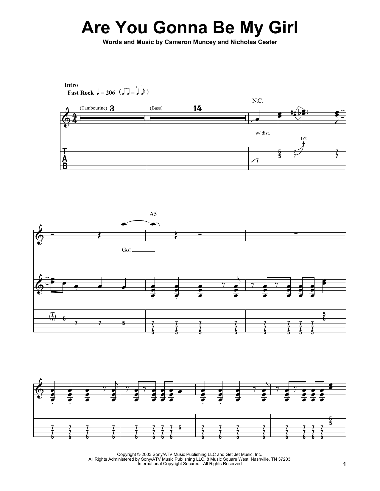 Jet Are You Gonna Be My Girl Sheet Music Notes Chords Printable