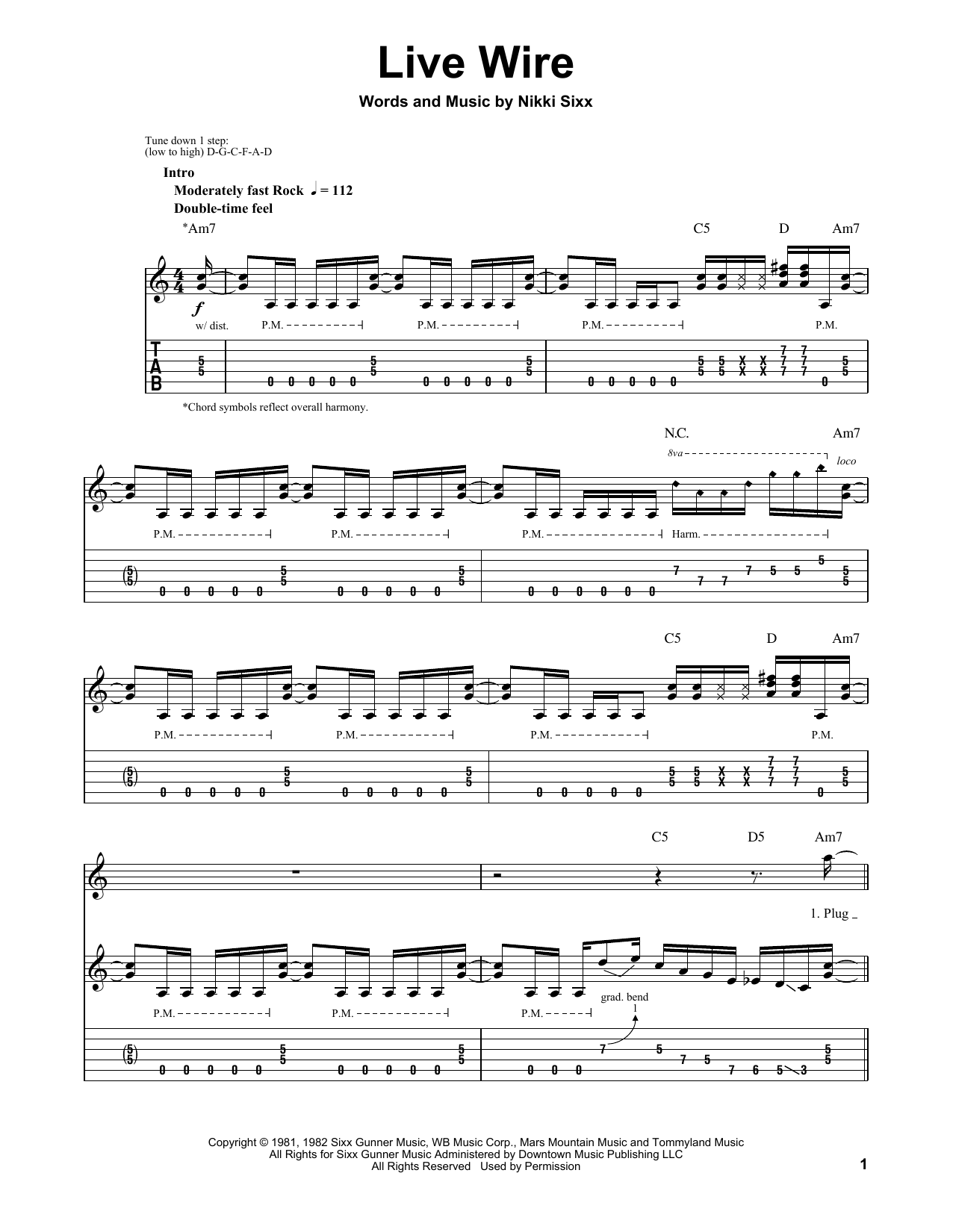 Motley Crue Live Wire Sheet Music Notes Chords Printable Rock