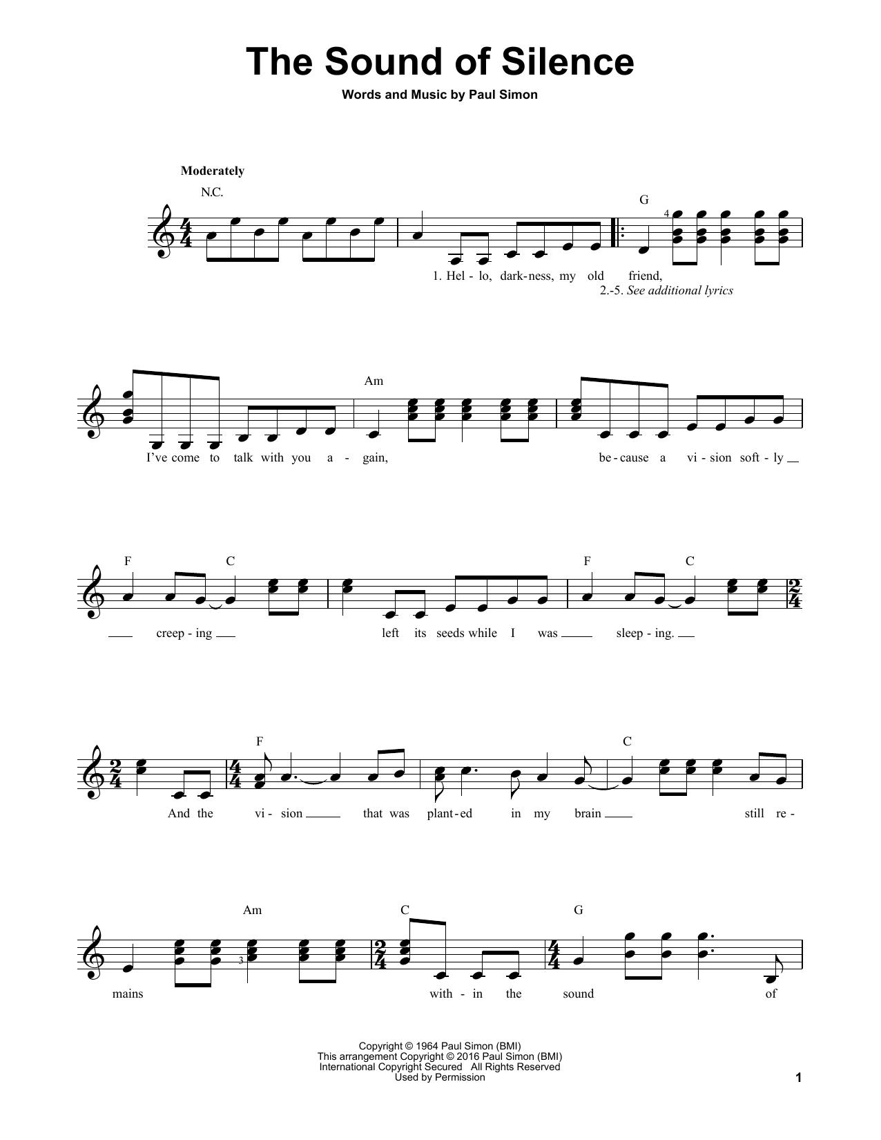Simon Garfunkel The Sound Of Silence Sheet Music Notes Chords