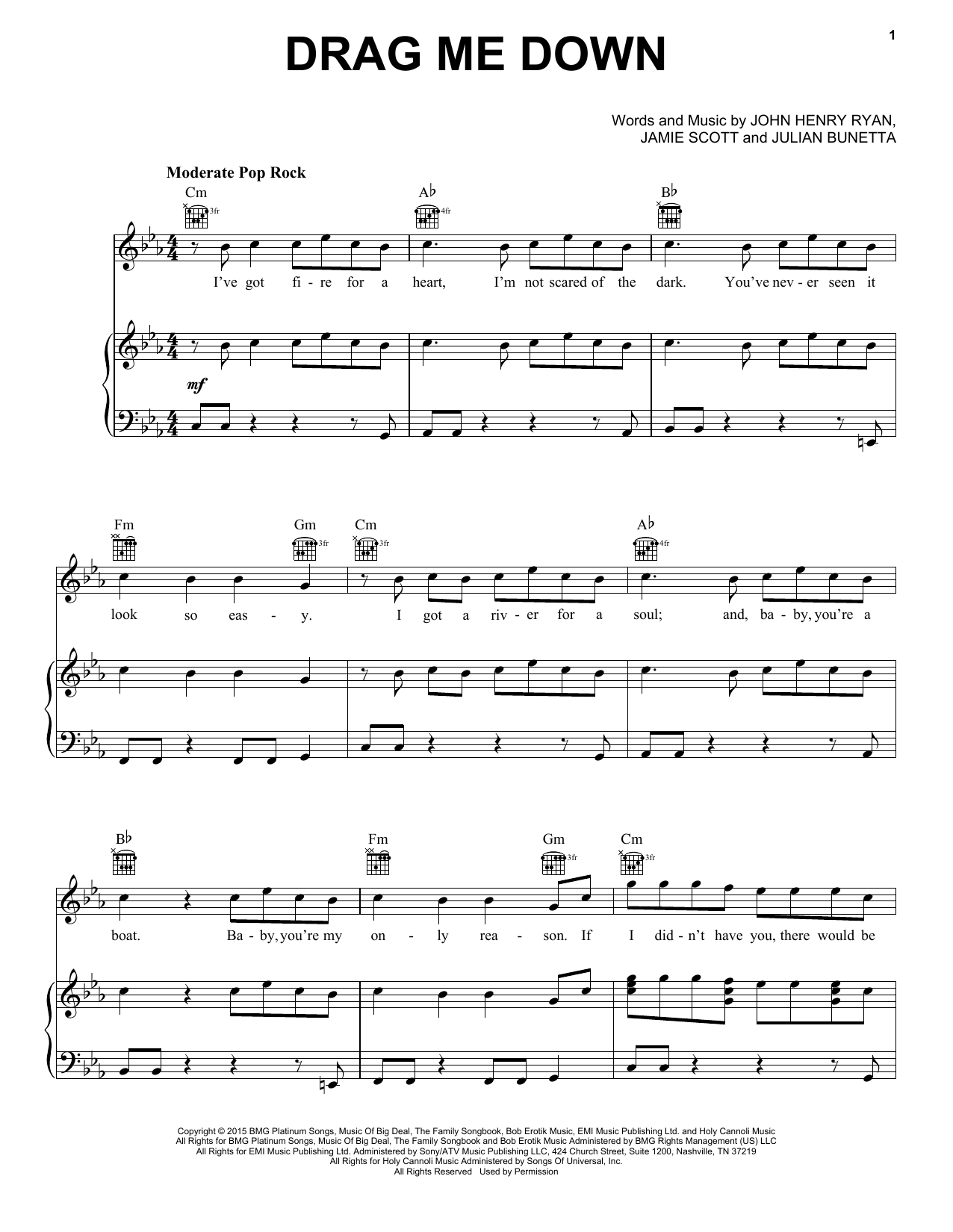 One Direction Drag Me Down Sheet Music Notes Chords Printable