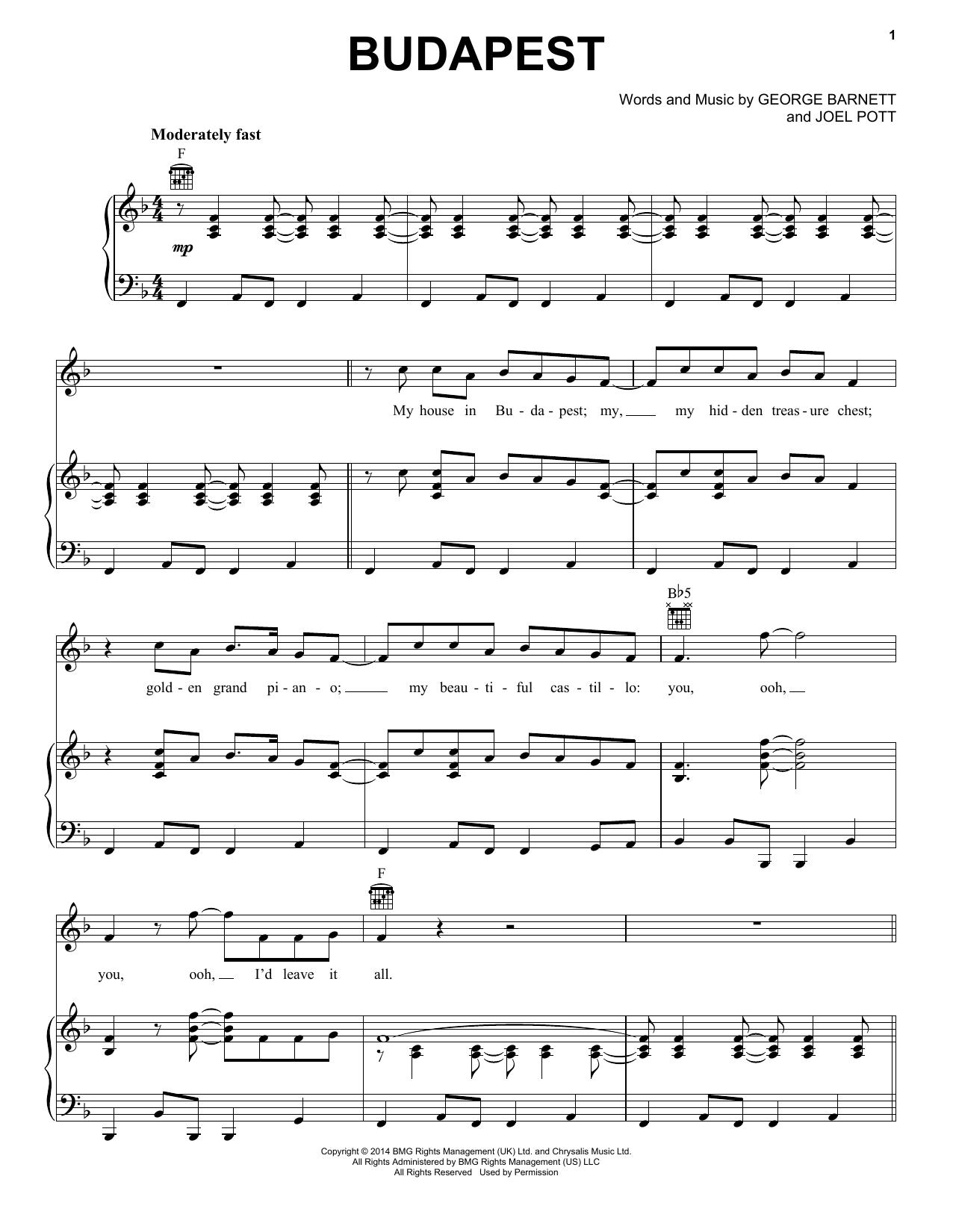 George Ezra Budapest Sheet Music Notes Chords Printable Rock