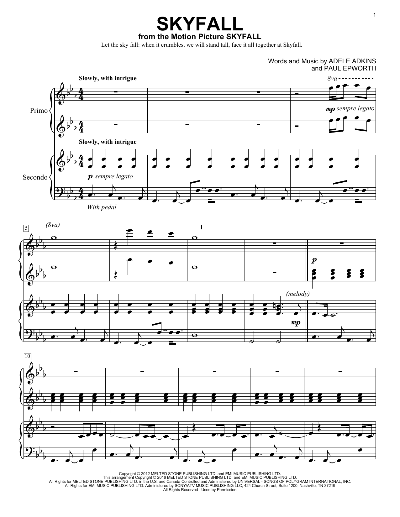 Adele Skyfall Sheet Music Notes Chords Printable Pop Piano Duet