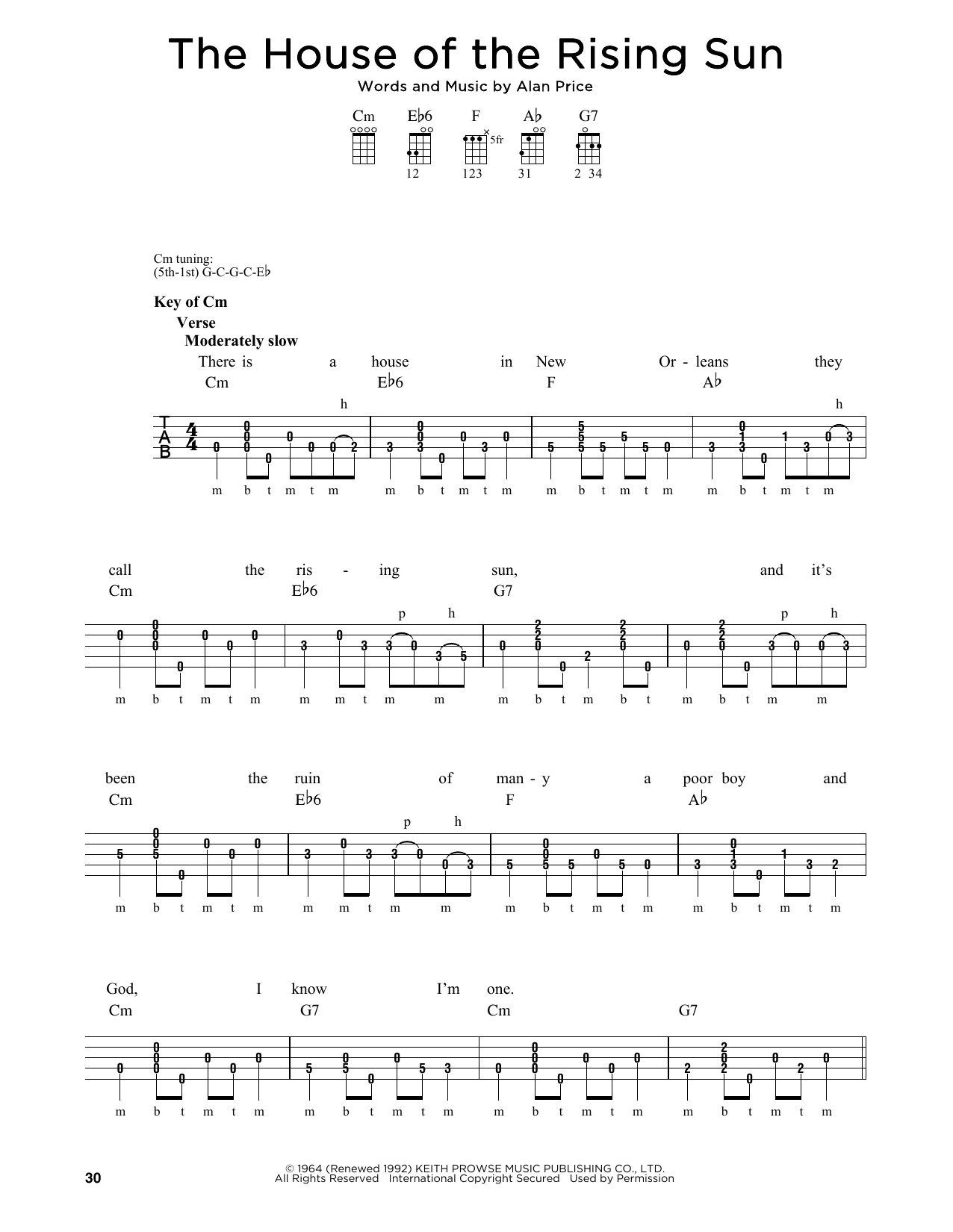 The Animals The House Of The Rising Sun Sheet Music Notes Chords