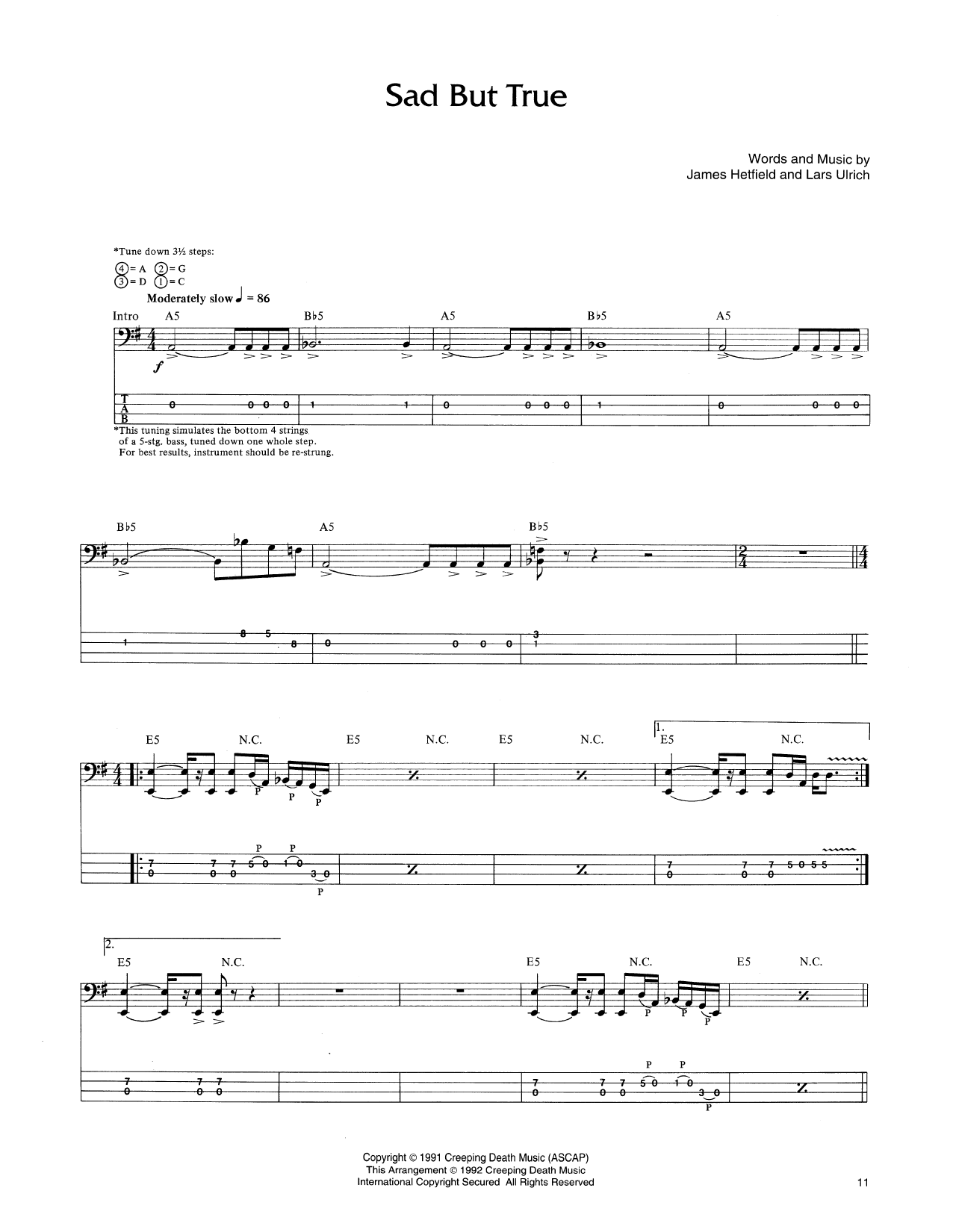 Metallica Sad But True Sheet Music Notes Chords Printable Pop