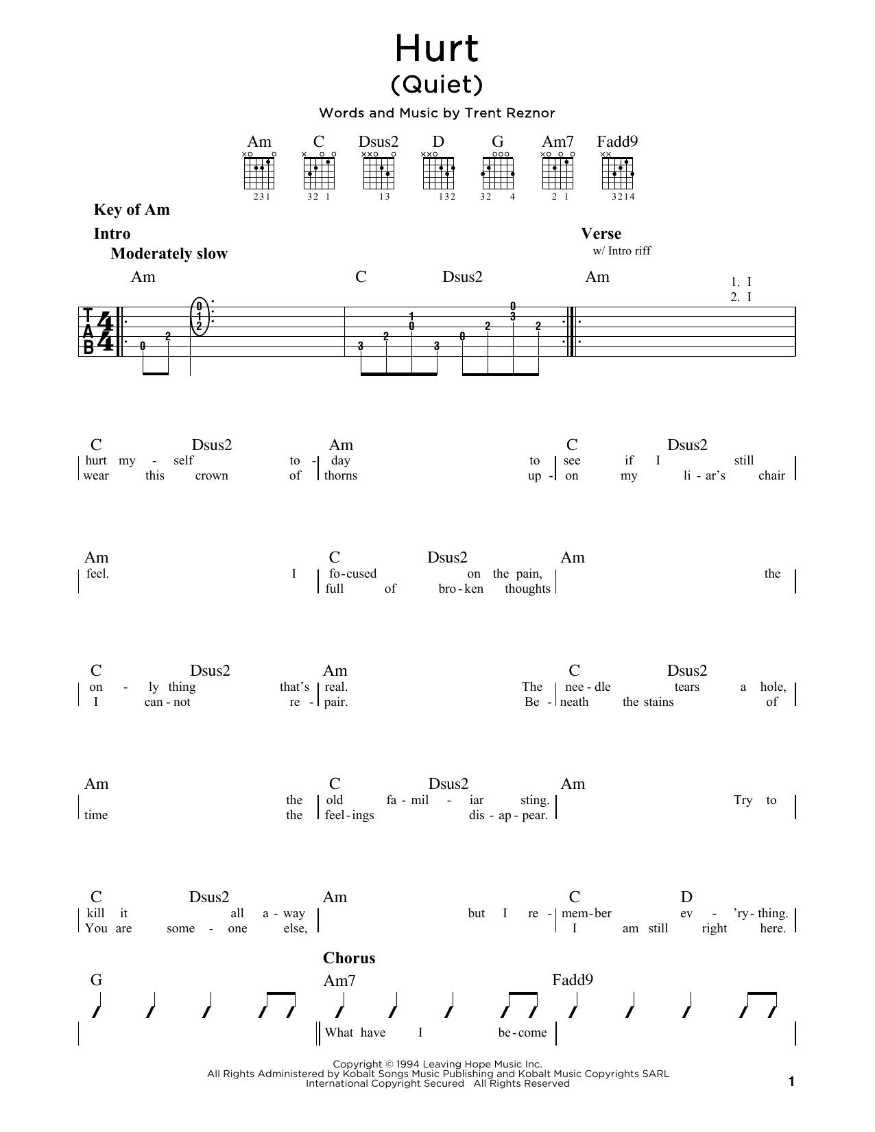 Johnny Cash Hurt Quiet Sheet Music Notes Chords Printable Pop