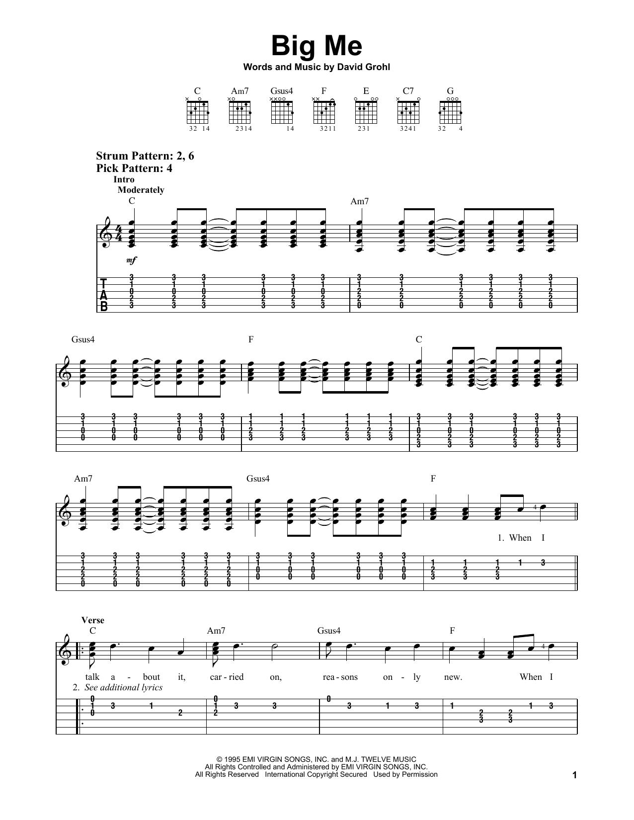 Foo Fighters Big Me Sheet Music Notes Chords Printable Pop Easy