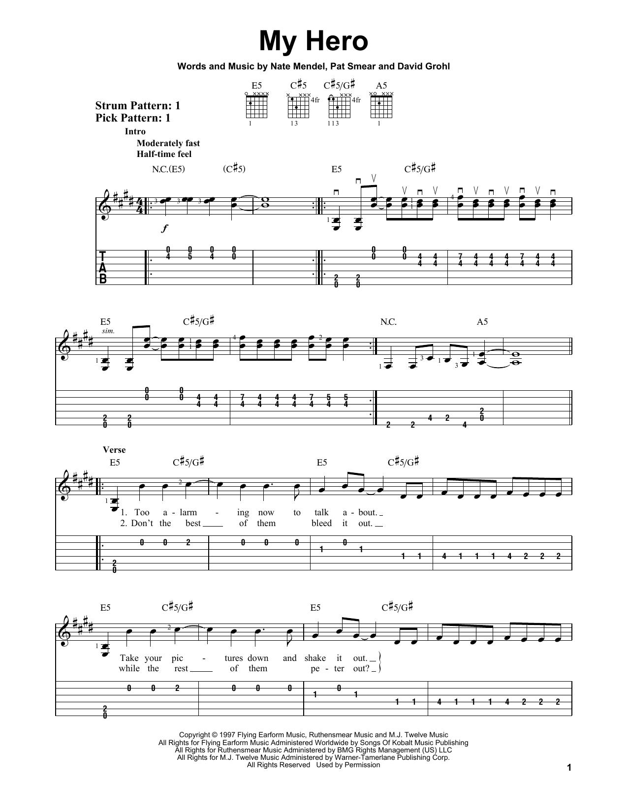 Foo Fighters My Hero Sheet Music Notes Chords Printable Pop
