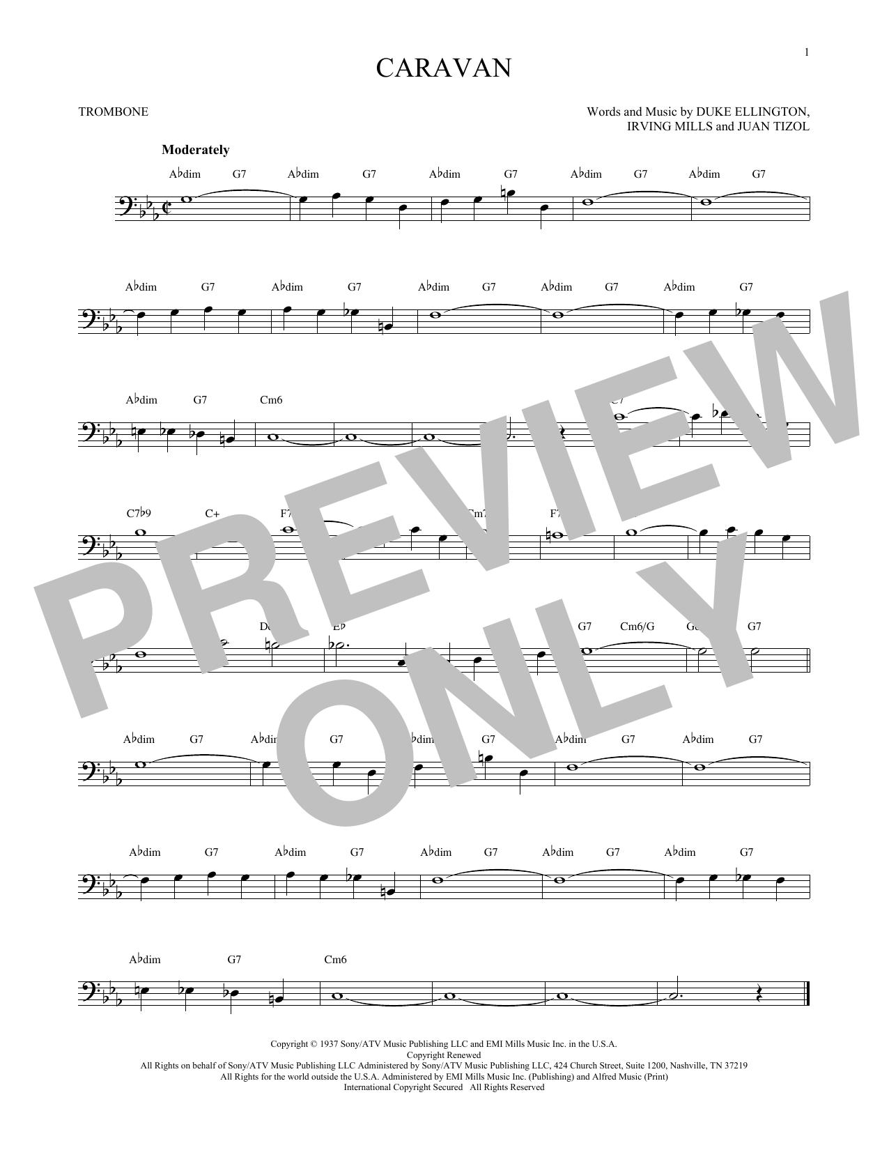 Juan Tizol Duke Ellington Caravan Sheet Music Notes Chords