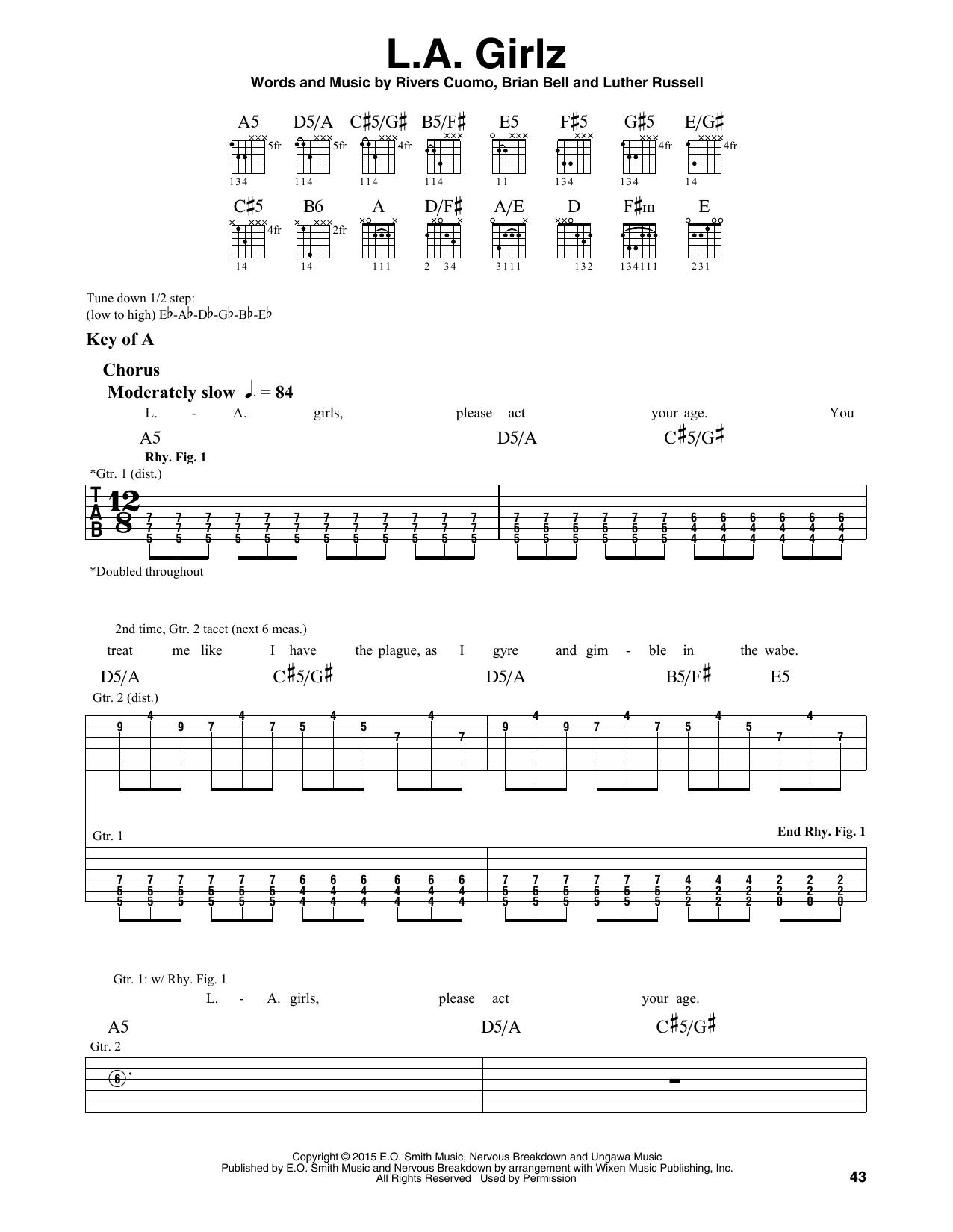 Weezer La Girlz Sheet Music Notes Chords Printable Rock