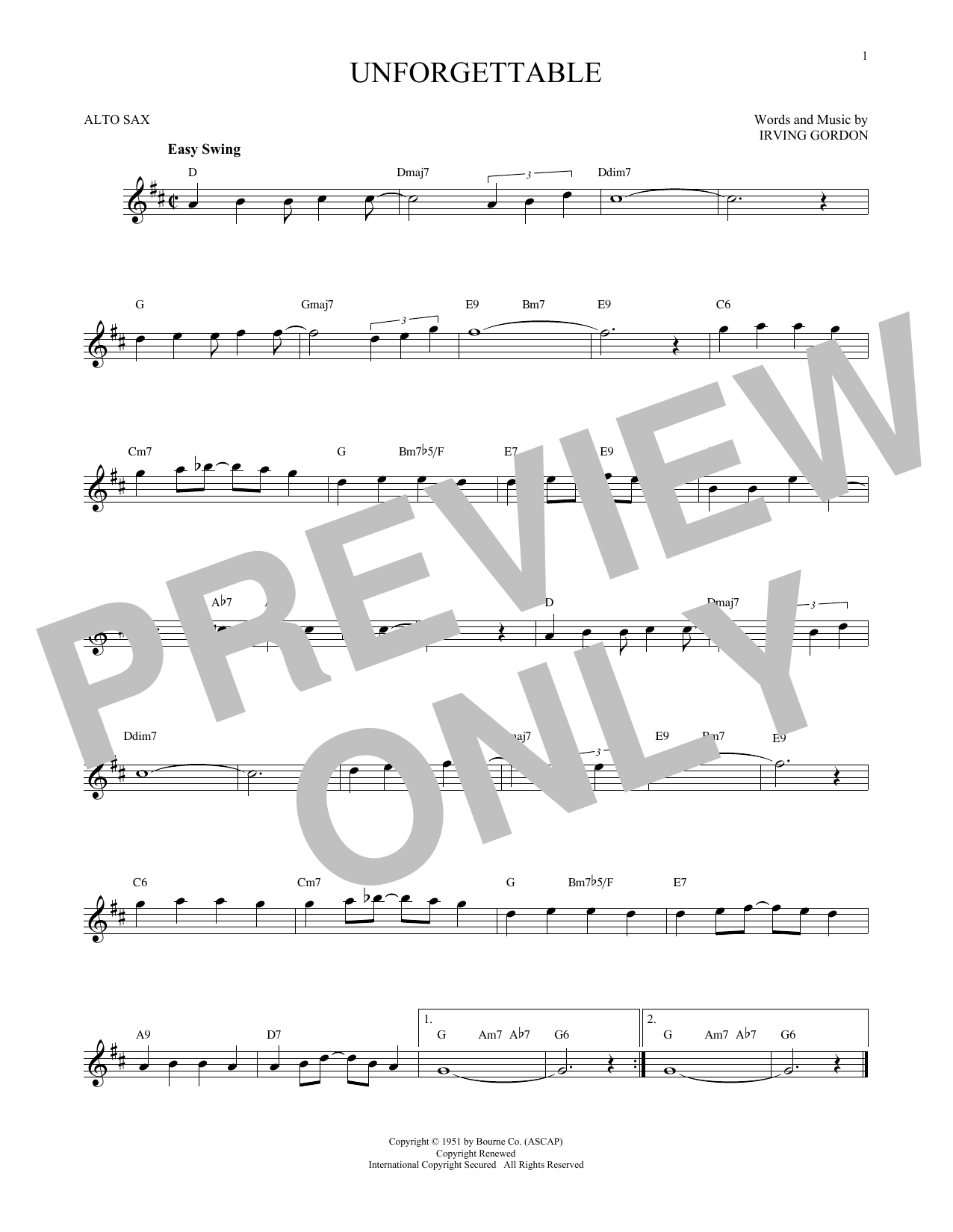 Irving Gordon Unforgettable Sheet Music Notes Chords Printable