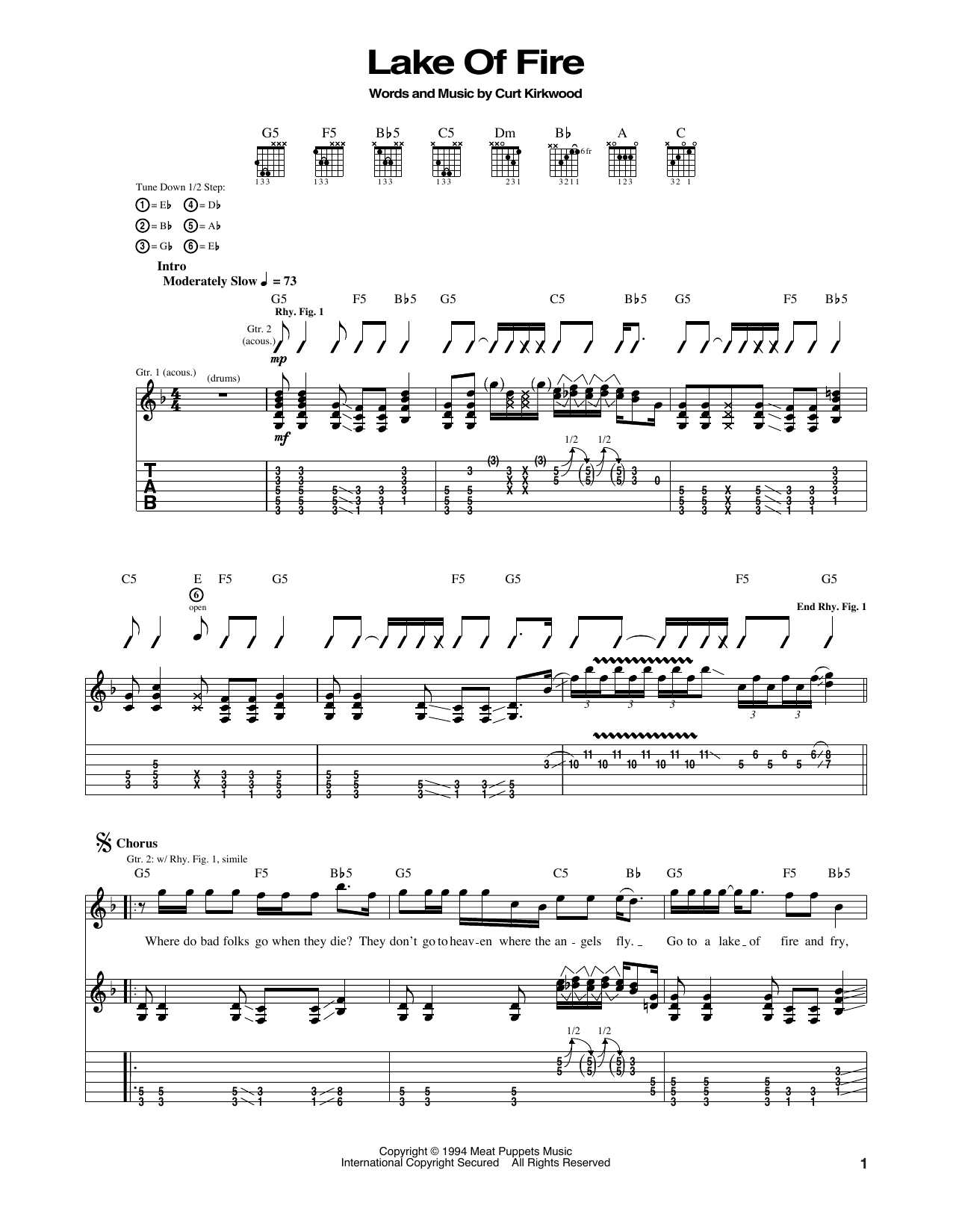 Nirvana Lake Of Fire Sheet Music Notes Chords Printable Folk