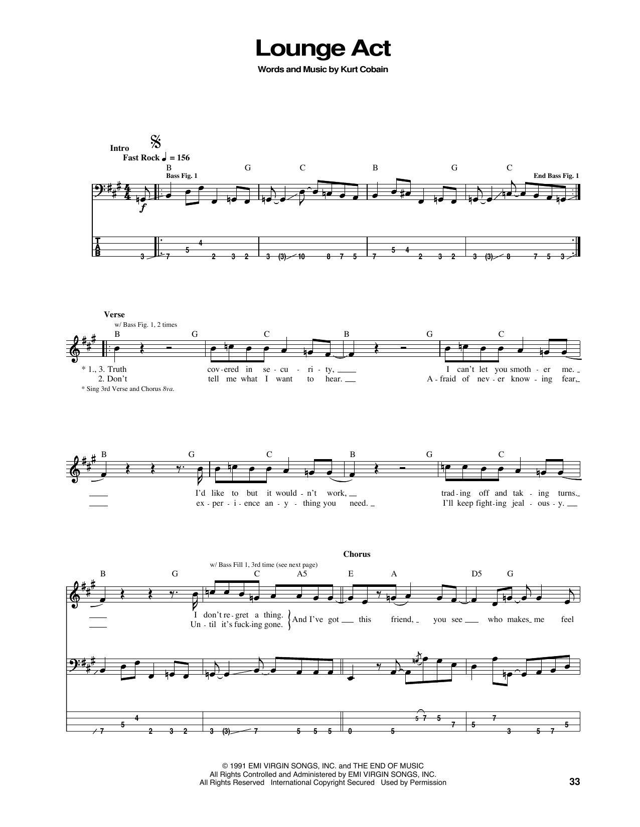 Nirvana Lounge Act Sheet Music Notes Chords Printable Pop Bass