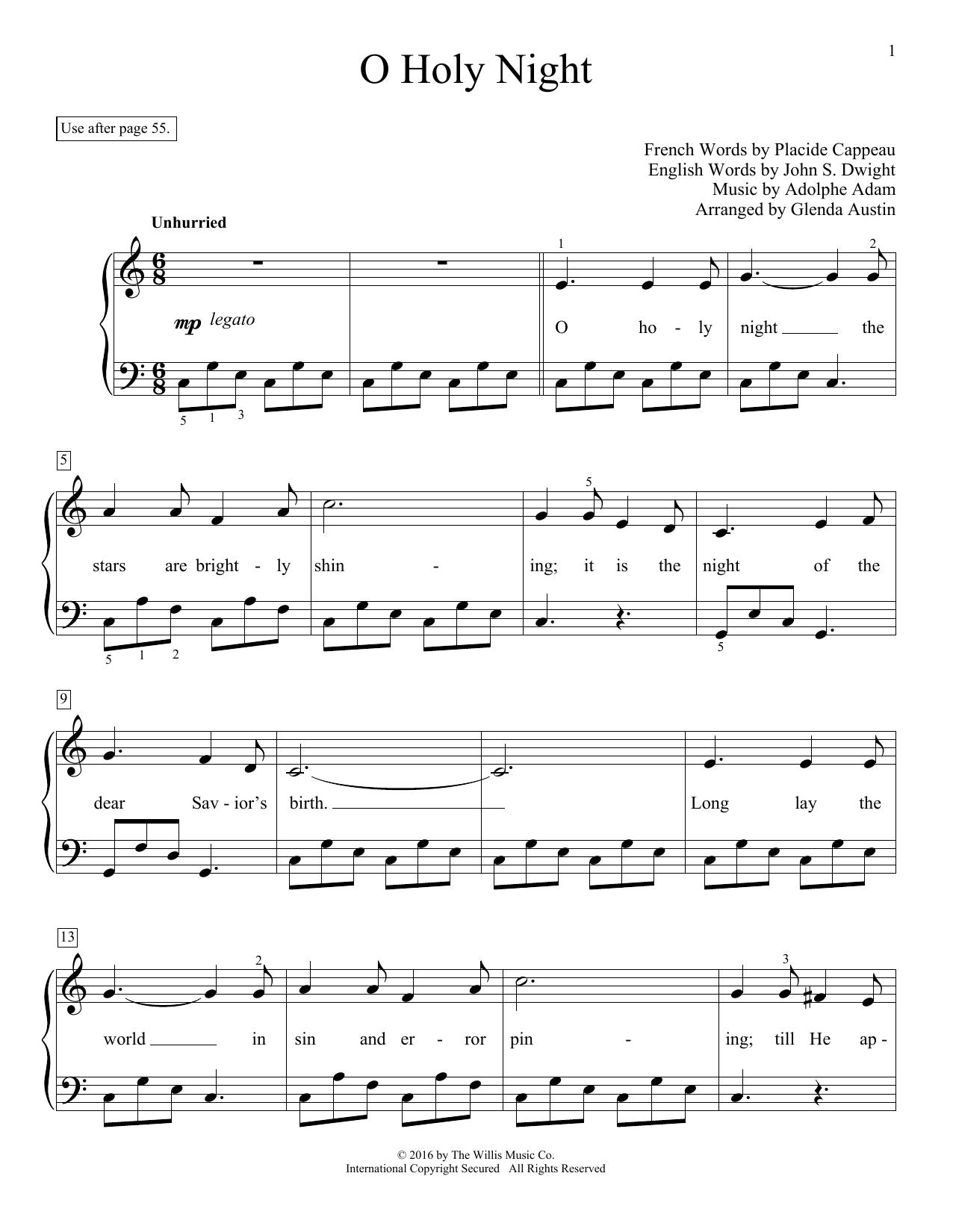 image regarding Printable Hymns Sheet Music known as Glenda Austin O Holy Night time Sheet Songs Notes, Chords Down load Printable Enlightening Piano - SKU: 172156