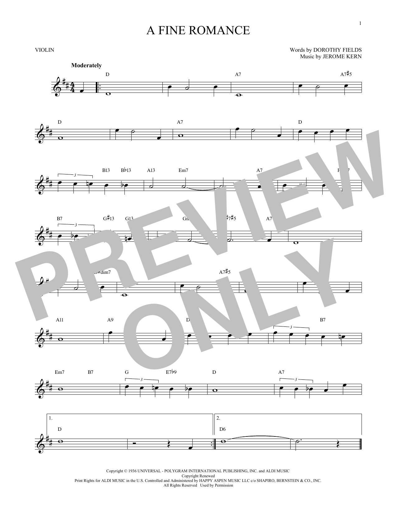 Jerome Kern A Fine Romance Sheet Music Notes Chords Printable