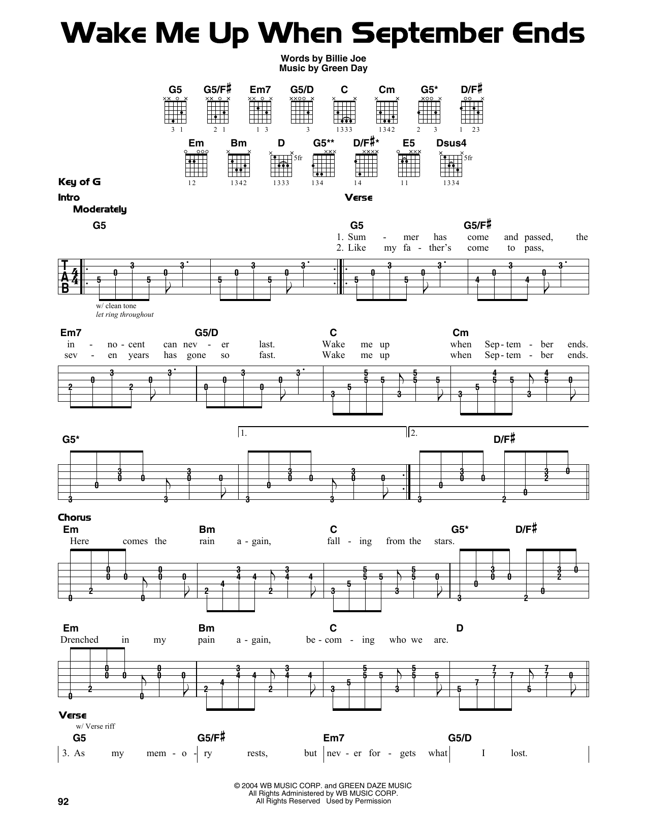 Green Day Wake Me Up When September Ends Sheet Music Notes Chords