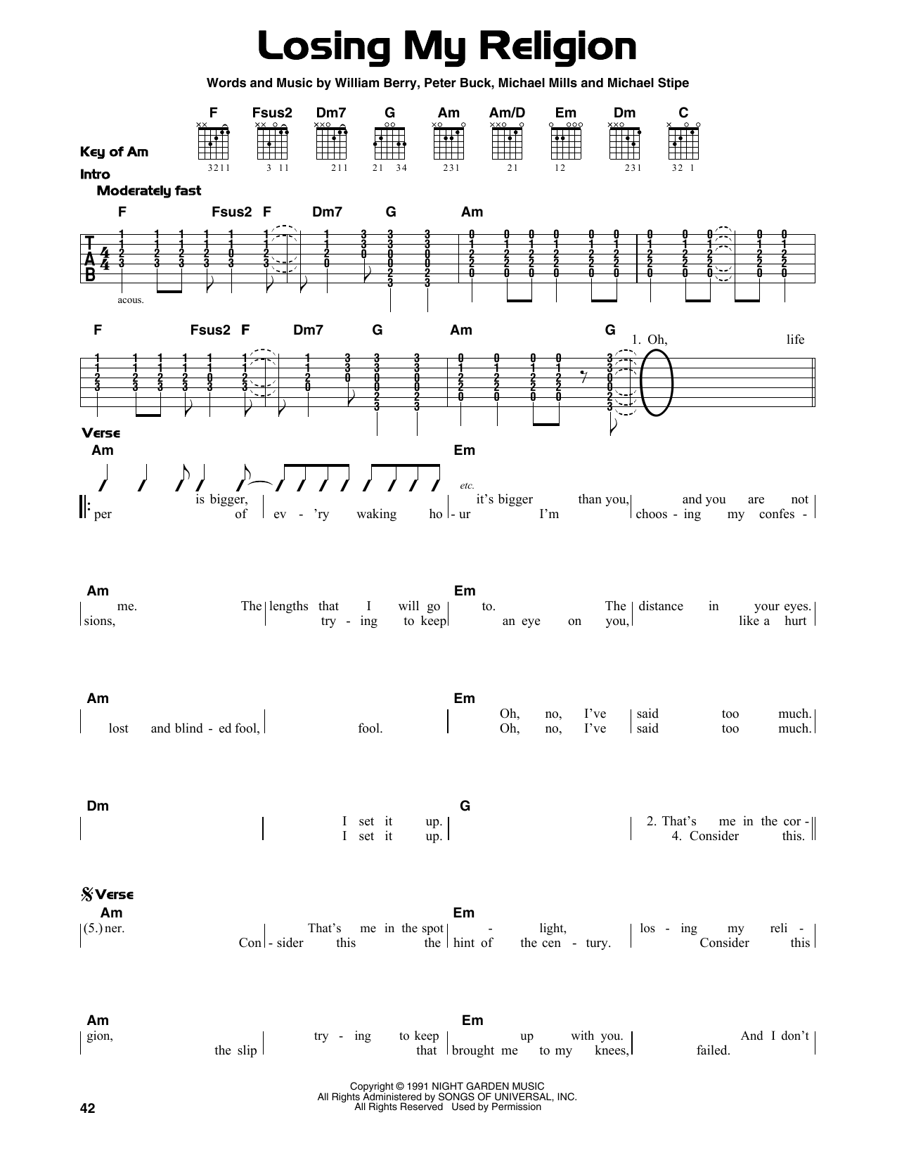 Rem Losing My Religion Sheet Music Notes Chords Printable
