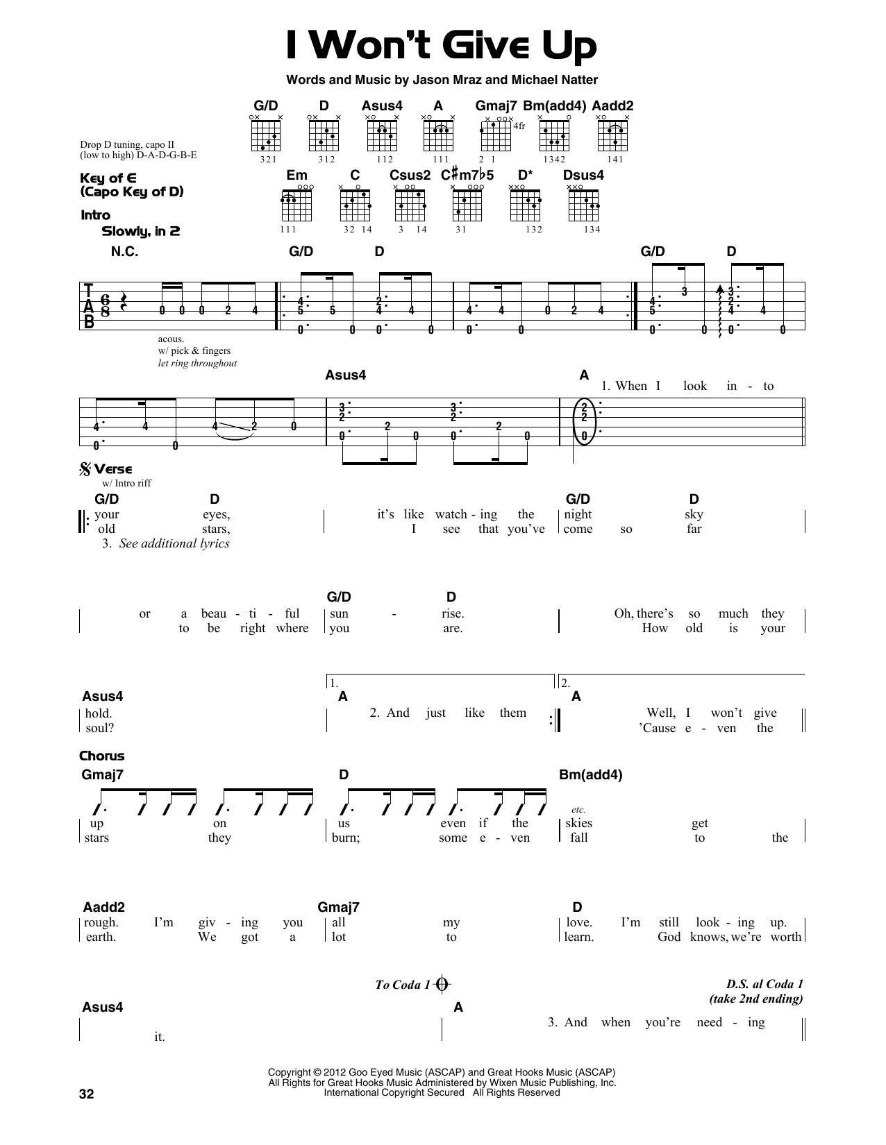 Fancy I Won T Give Up Jason Mraz Chords Photo Beginner Guitar