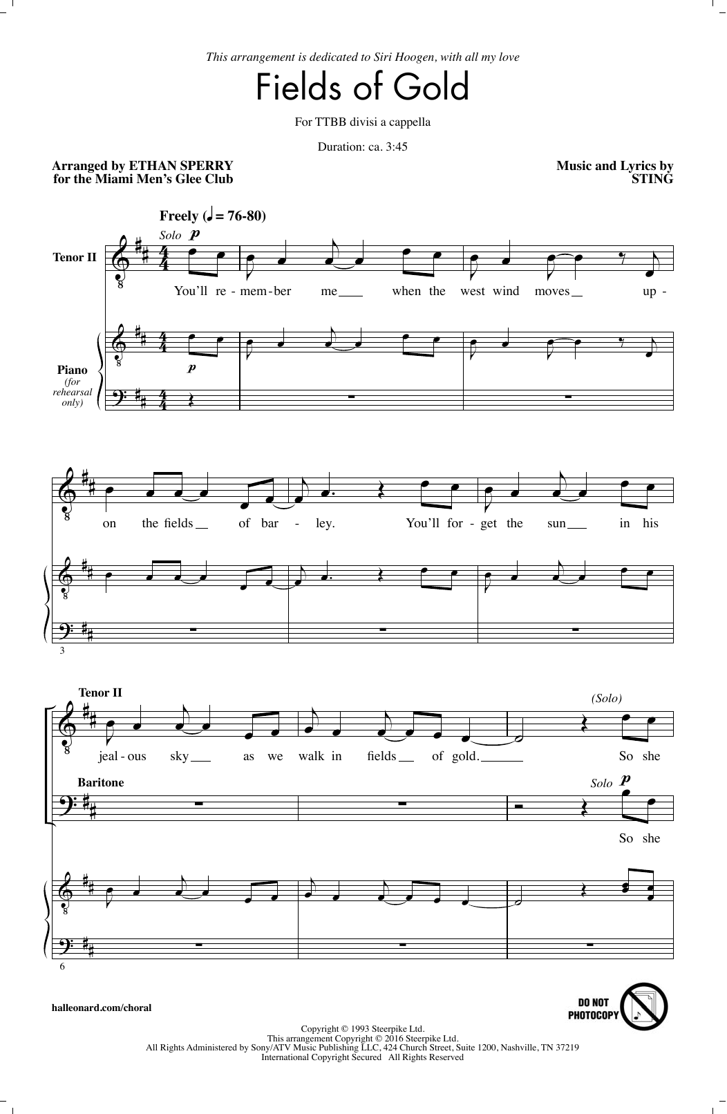 Sting Fields Of Gold Arr Ethan Sperry Sheet Music Notes Chords