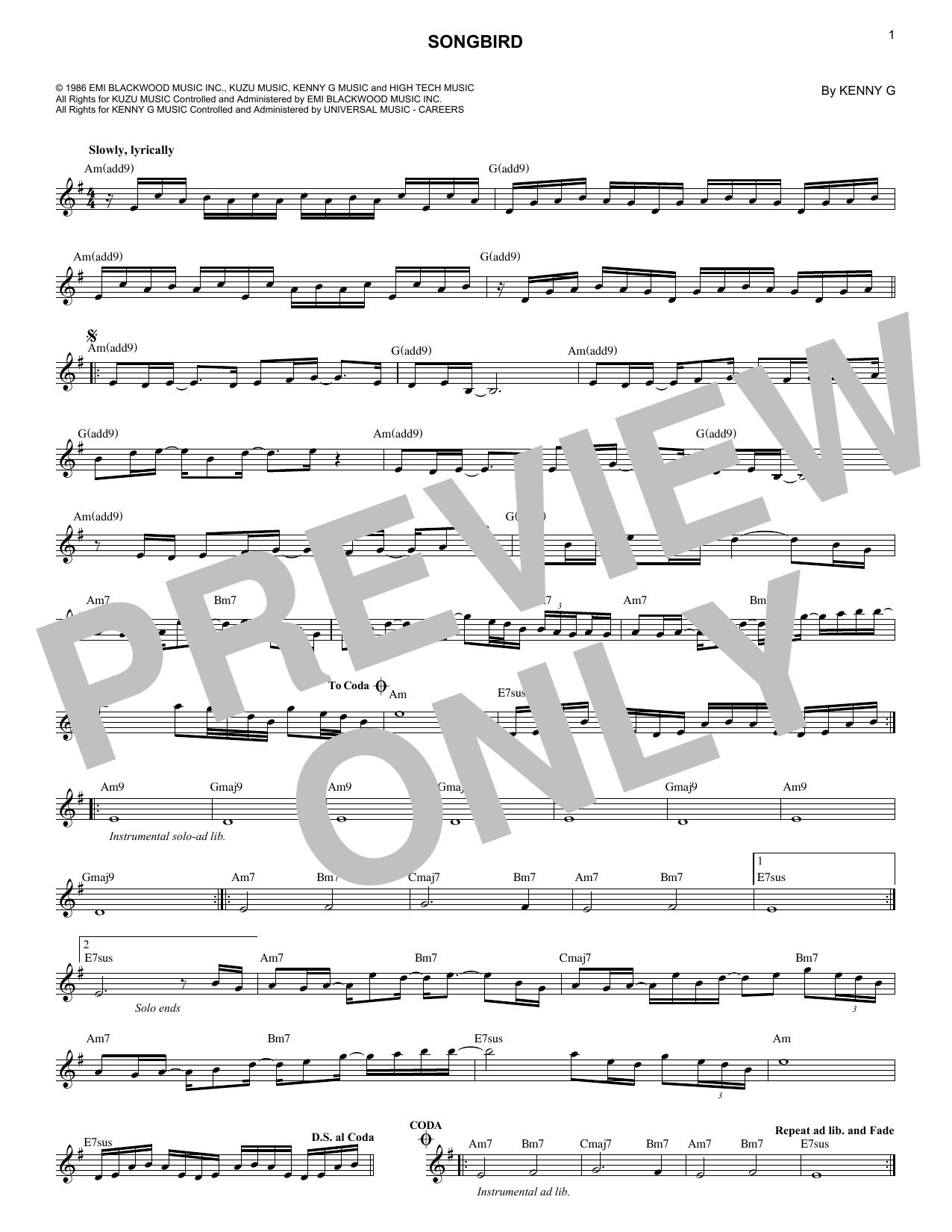 Kenny G Songbird Sheet Music Notes Chords Printable Jazz Melody