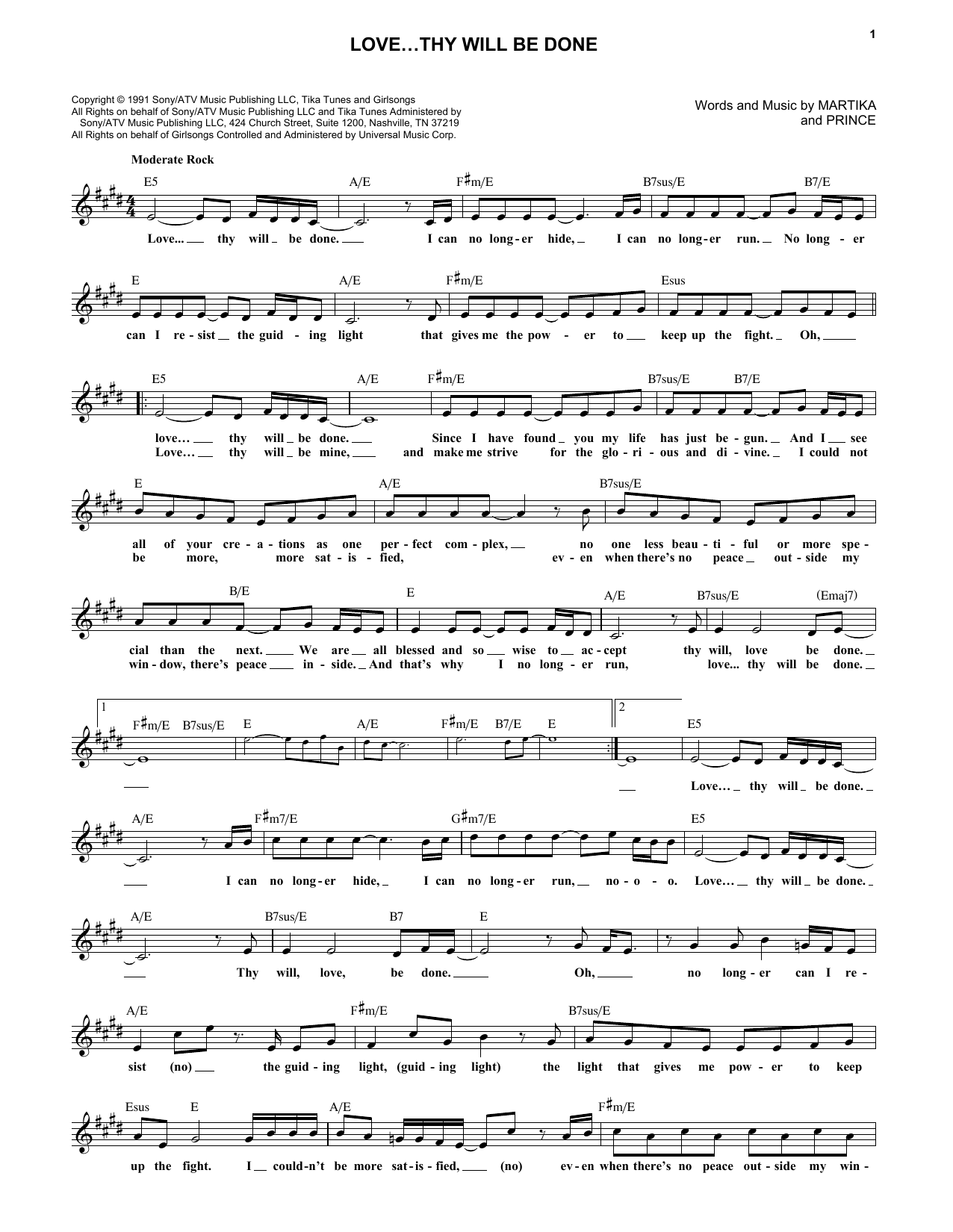 Prince Lovey Will Be Done Sheet Music Notes Chords