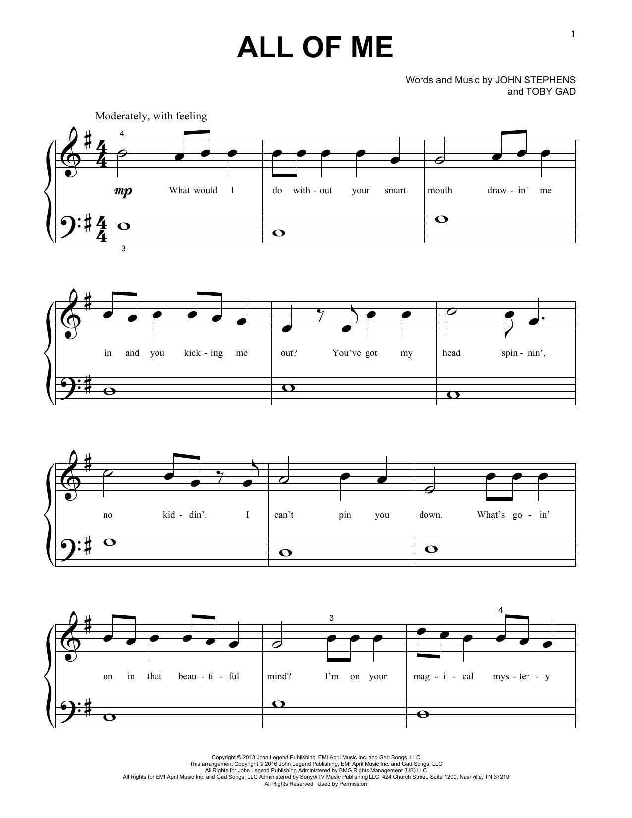 John Legend All Of Me Sheet Music Notes Chords Printable Pop