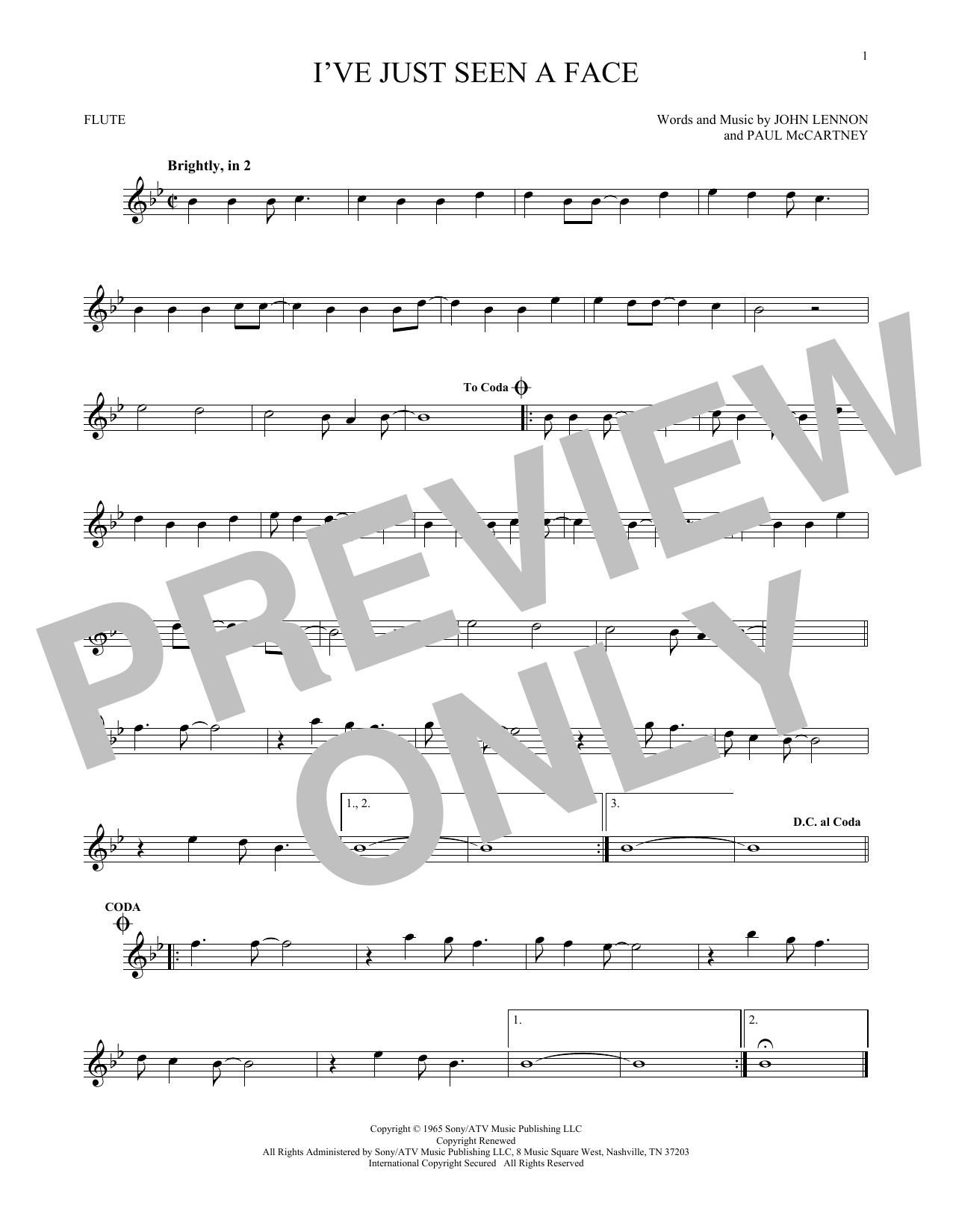 The Beatles Ive Just Seen A Face Sheet Music Notes Chords