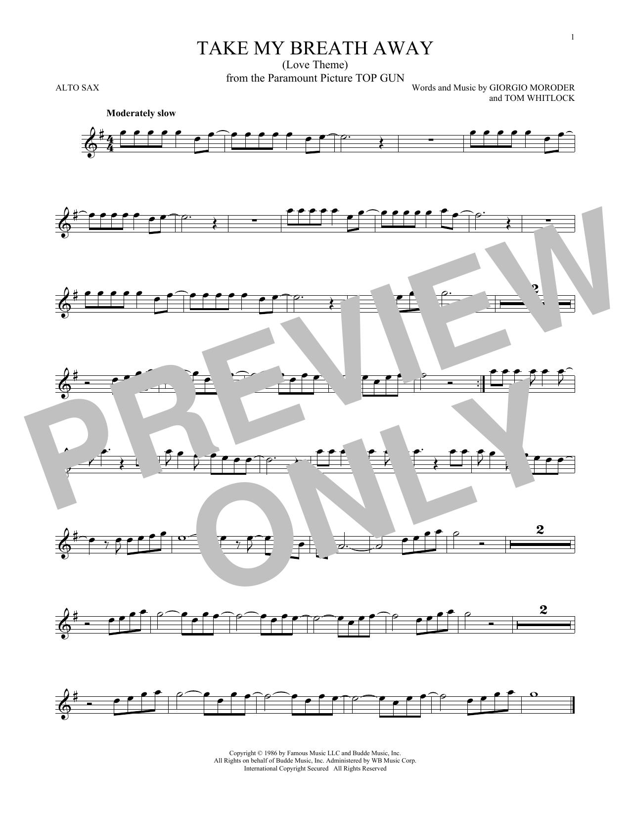 Giorgio Moroder Take My Breath Away Love Theme Sheet Music Notes