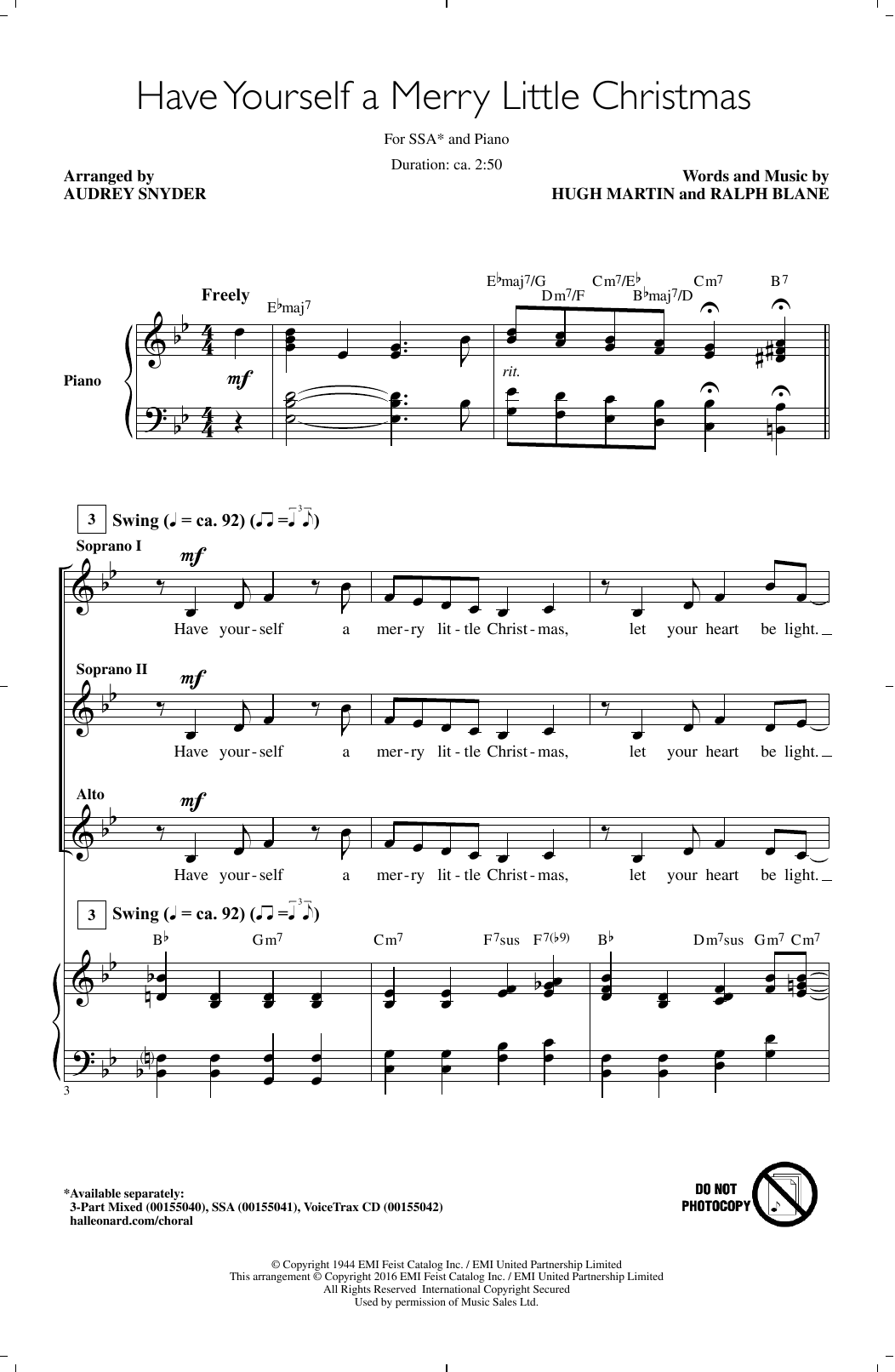 Have Yourself A Merry Little Christmas Sheet Music Pdf.Audrey Snyder Have Yourself A Merry Little Christmas Sheet Music Notes Chords Download Printable Ssa Sku 173430