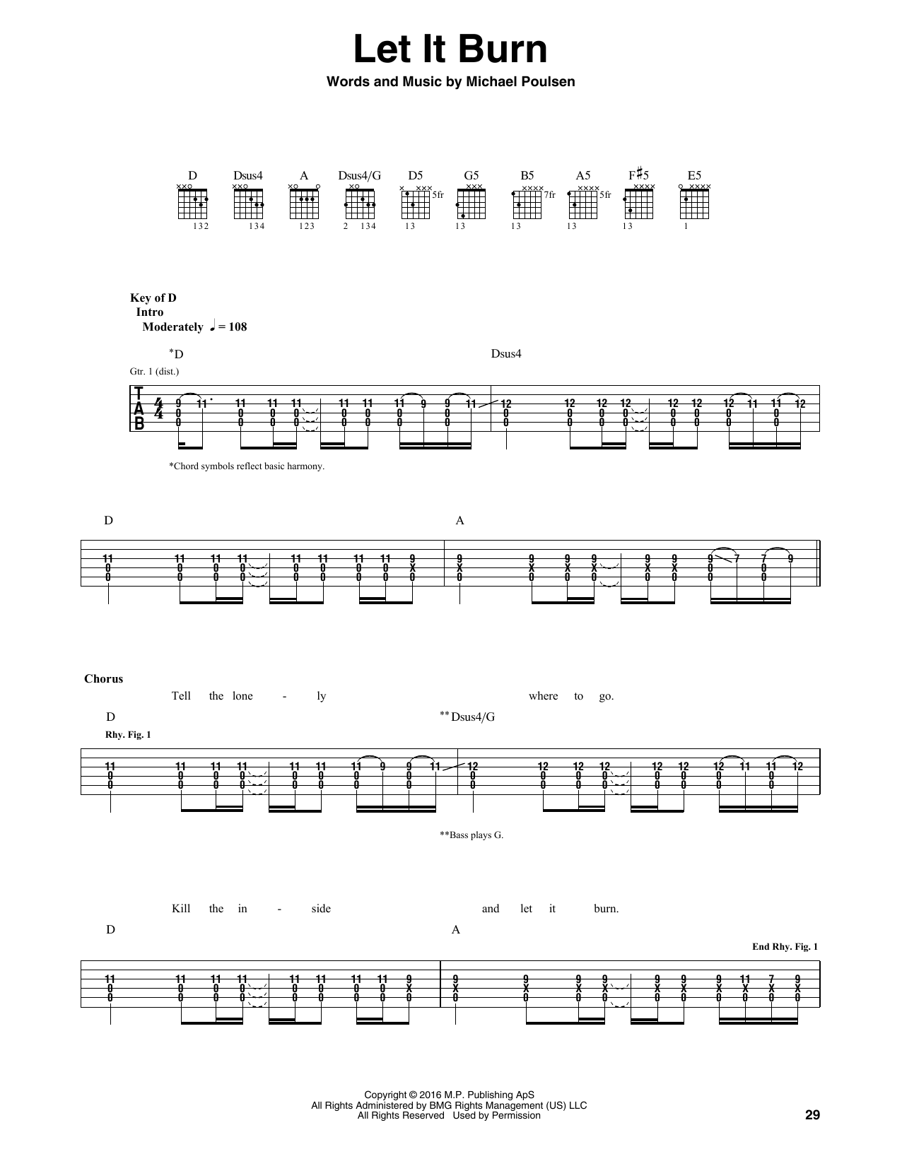 Volbeat Let It Burn Sheet Music Notes Chords Printable Pop