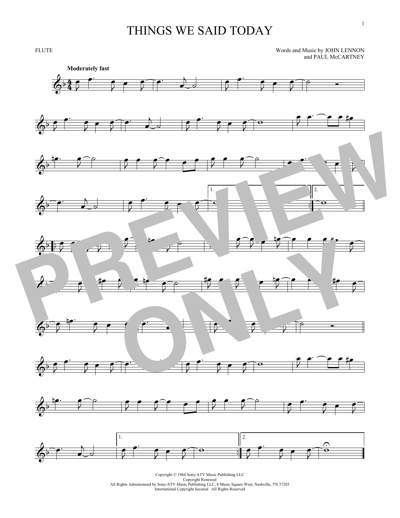 The Beatles Things We Said Today Sheet Music Notes Chords