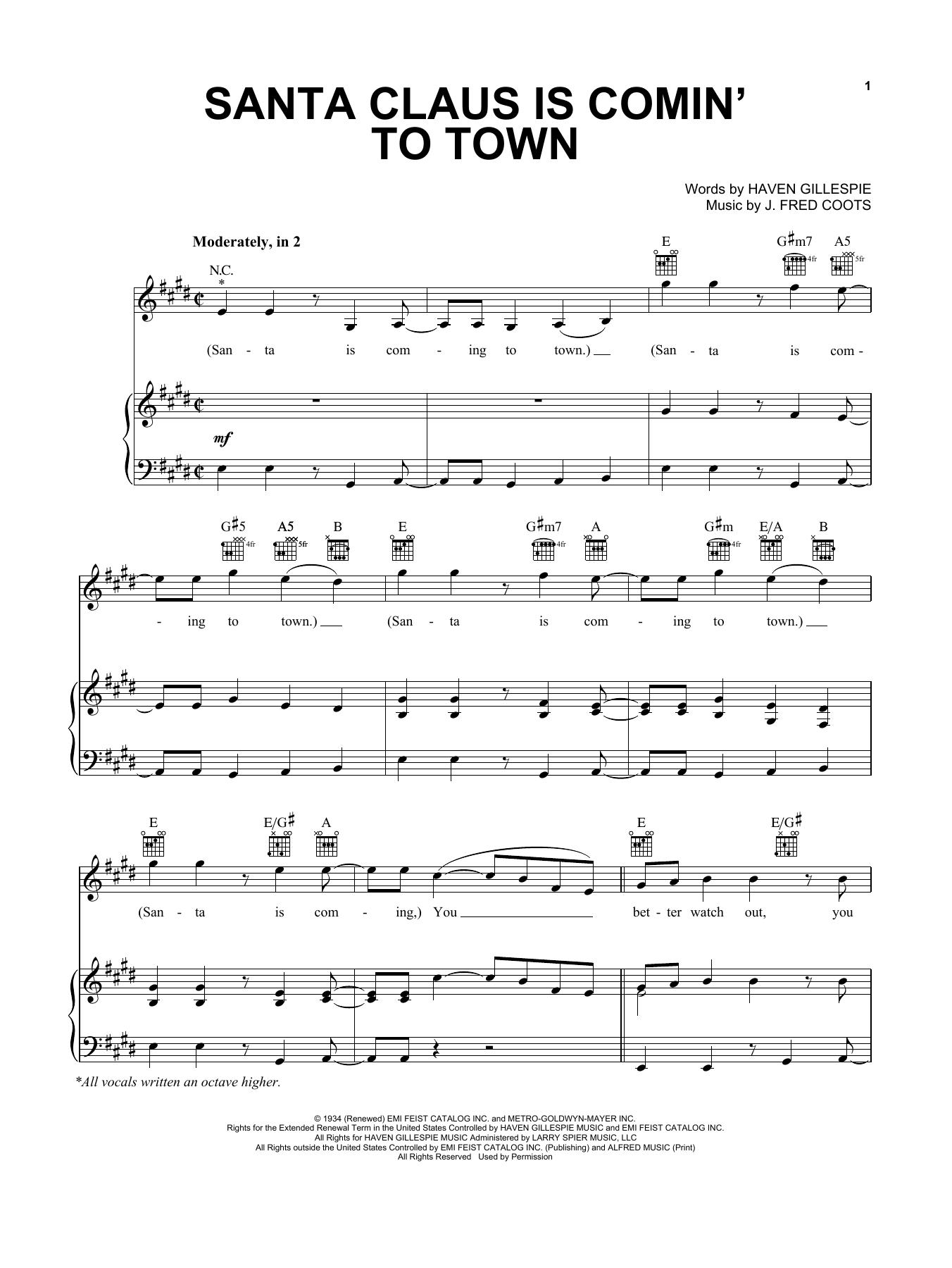 Pentatonix Santa Claus Is Comin To Town Sheet Music Notes Chords